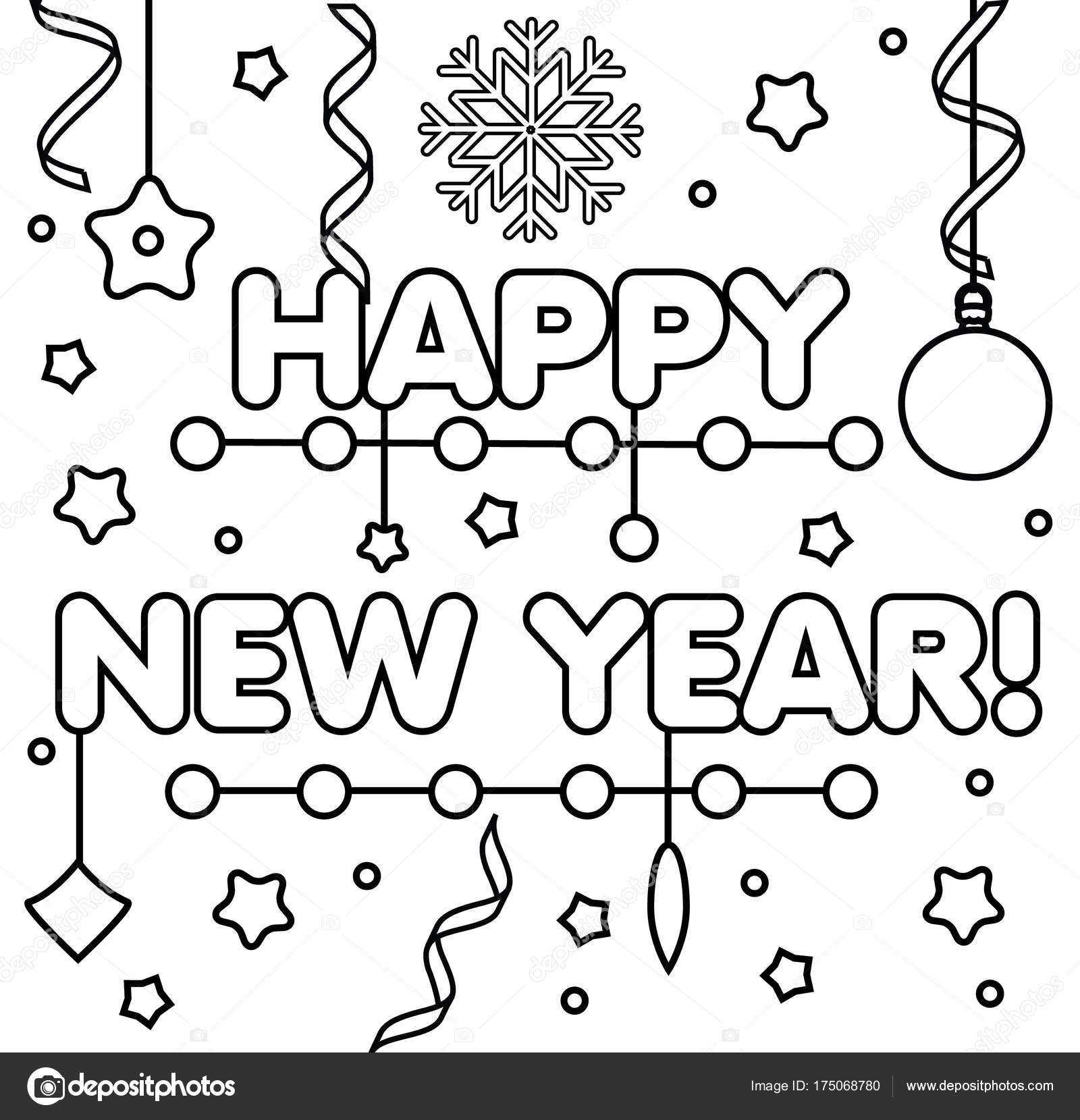 Kleurplaat Met Gelukkig Nieuwjaar Tekst Tekening Geitjes Spel
