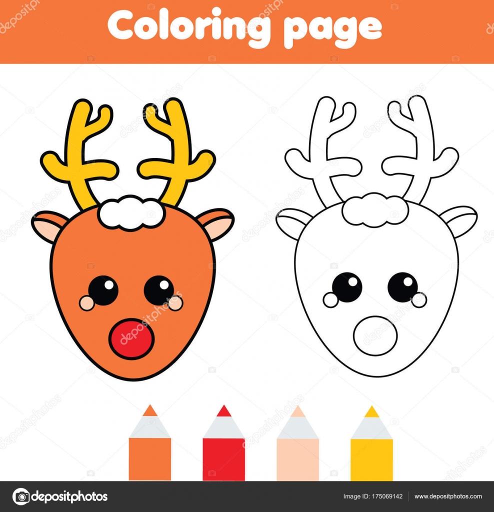 Página para colorear con ciervos de la Navidad. Dibujo juego de ...