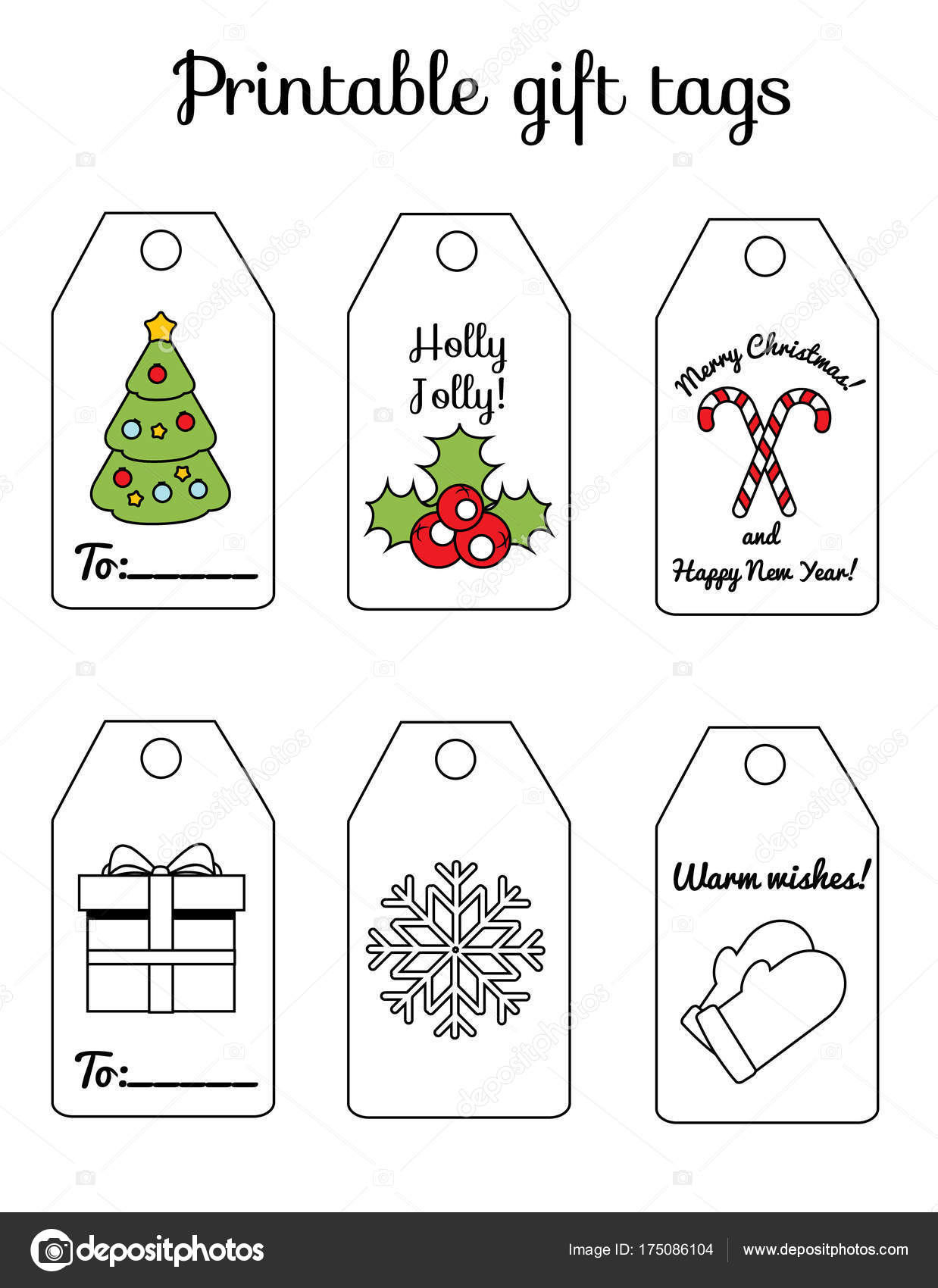 printable christmas and new year gift tags winter holidays greetings and decorations for scrapbook and