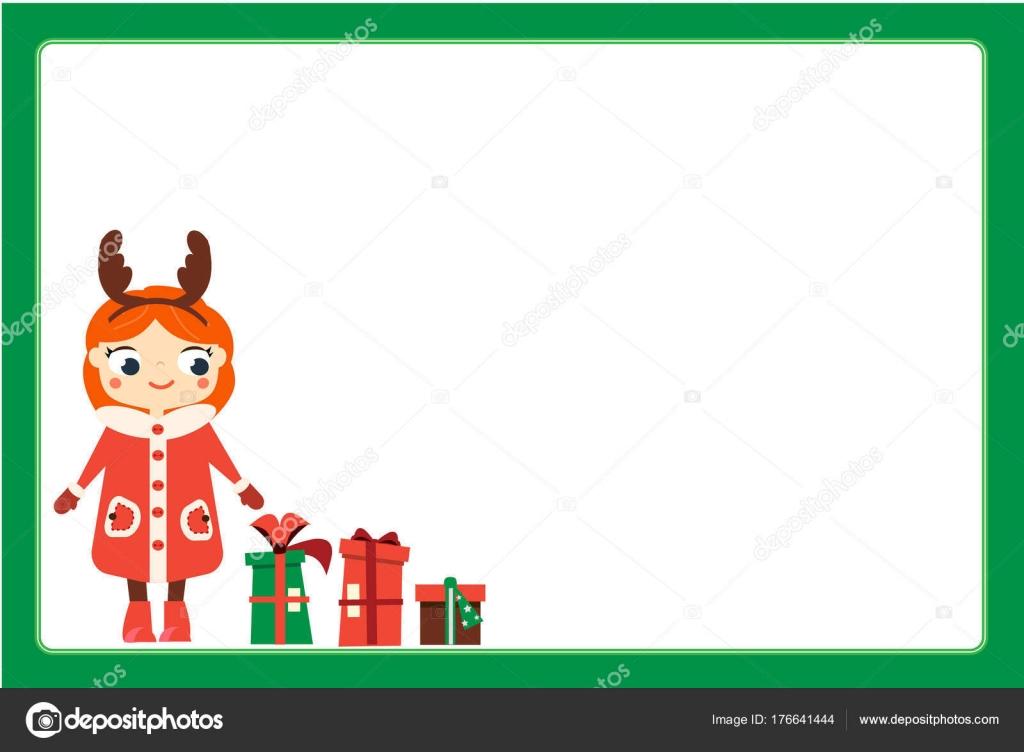 Comicfigur Lächelndes Mädchen Weihnachten Hörner Stirnband Tragen