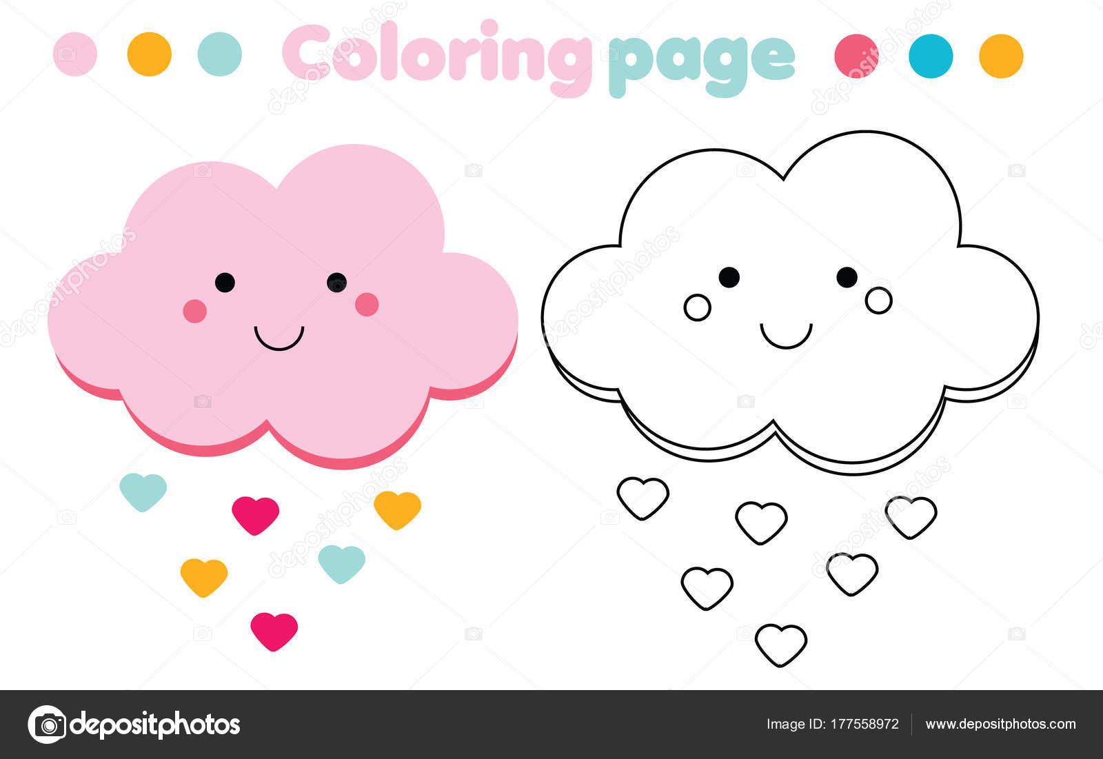 şirin Bulut Ile Boyama Sayfası Renkli Resmi Kids Hareket