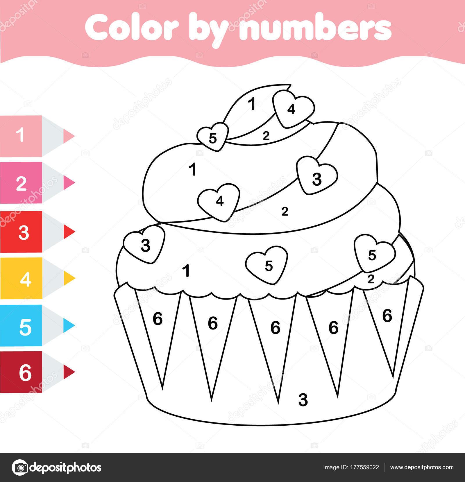Lernspiel Für Kinder Malvorlagen Mit Valentinstag Cupcake Farbe Nach ...