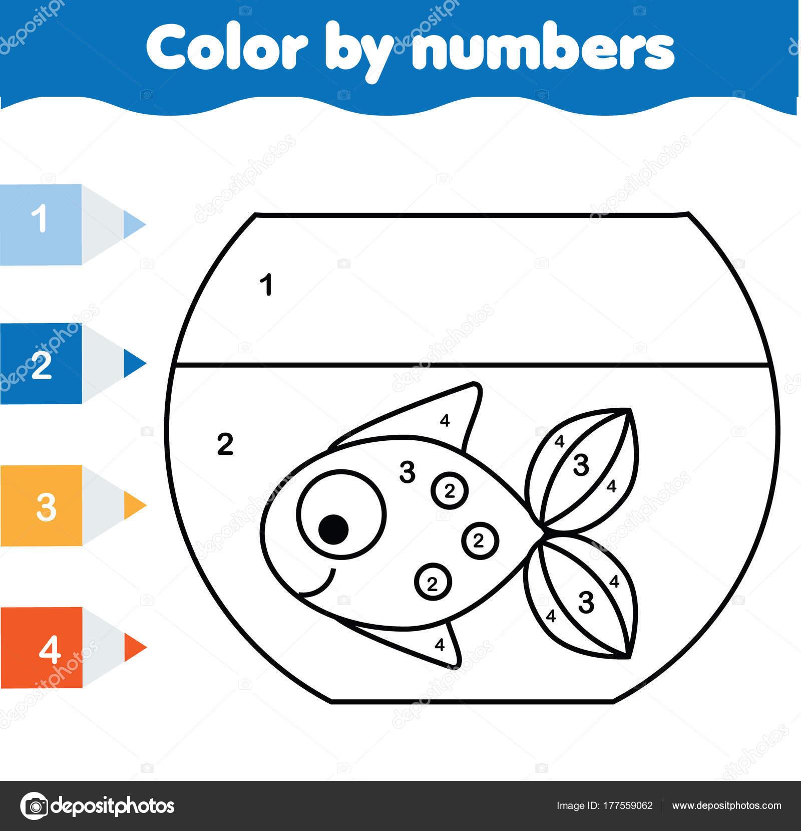 Juego educativo de los niños. Página para colorear de peces en el ...