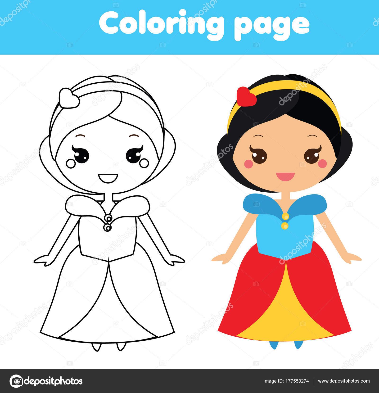 Kleurplaat Met Schattige Prinses Kawaii Stijl Kleur Van Afbeelding