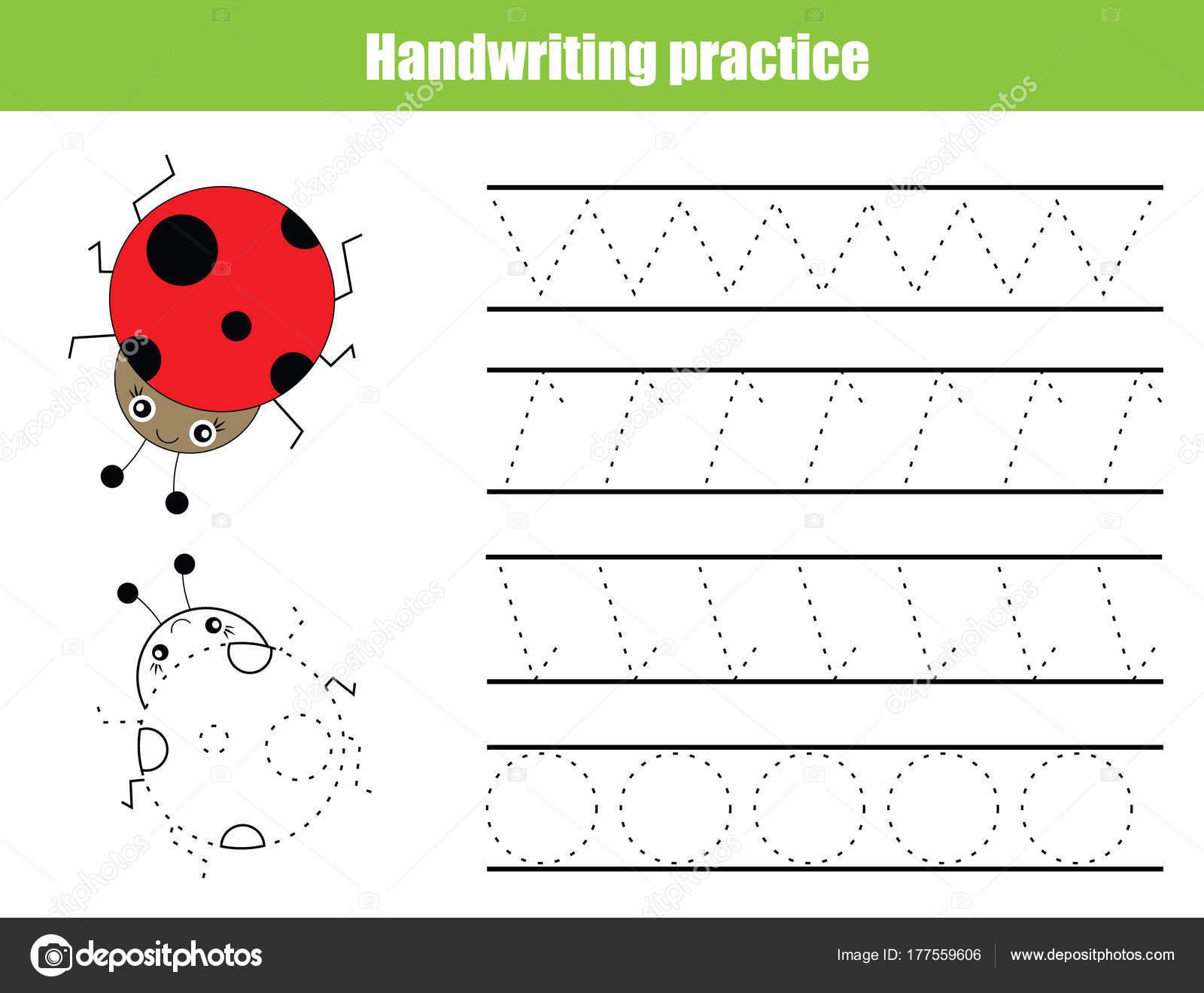 Handschrift Praxis Blatt Pädagogische Kinder Spiel Nachverfolgung ...