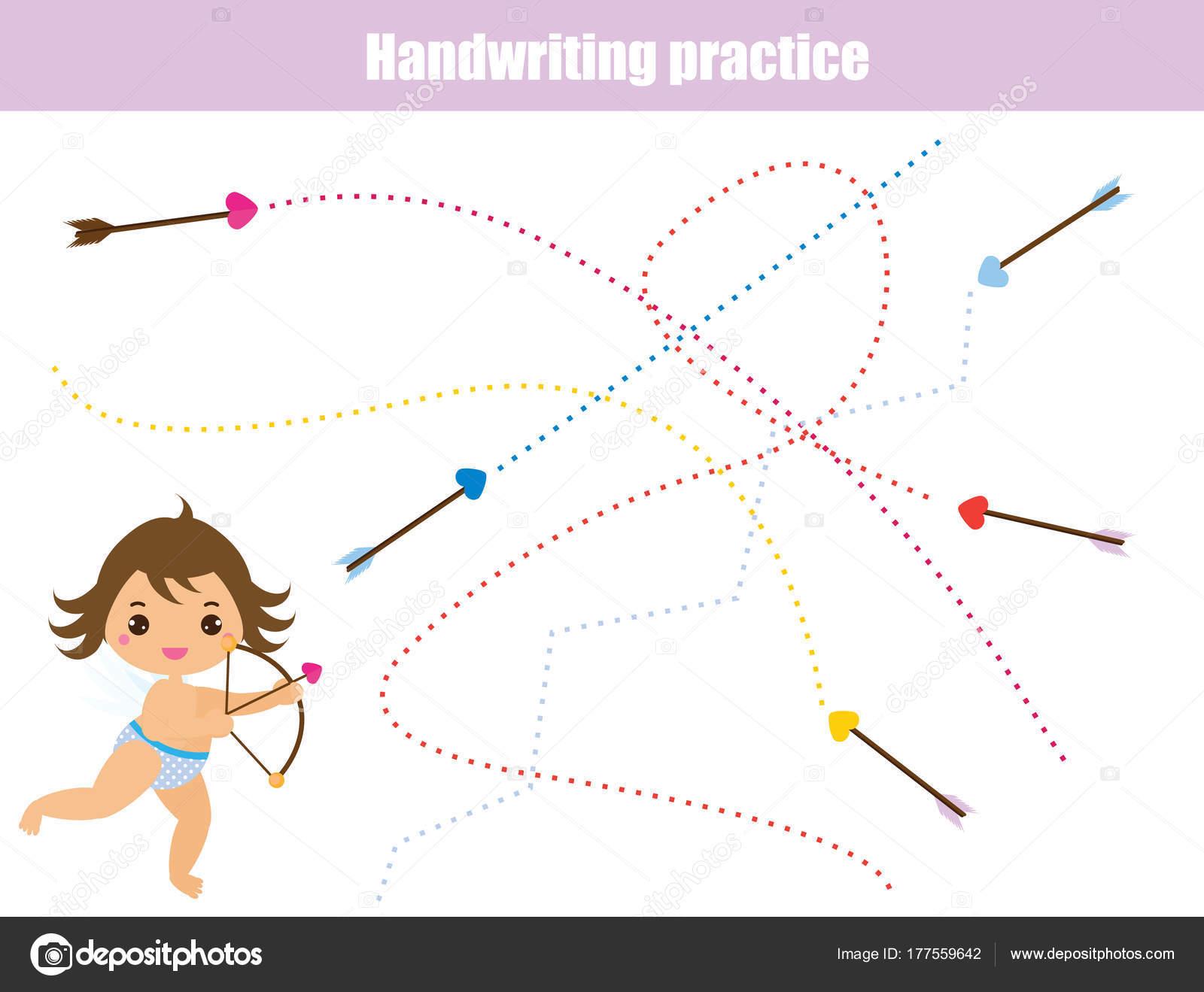 Hoja de ejercicios de escritura. Educativo de los niños juego ...