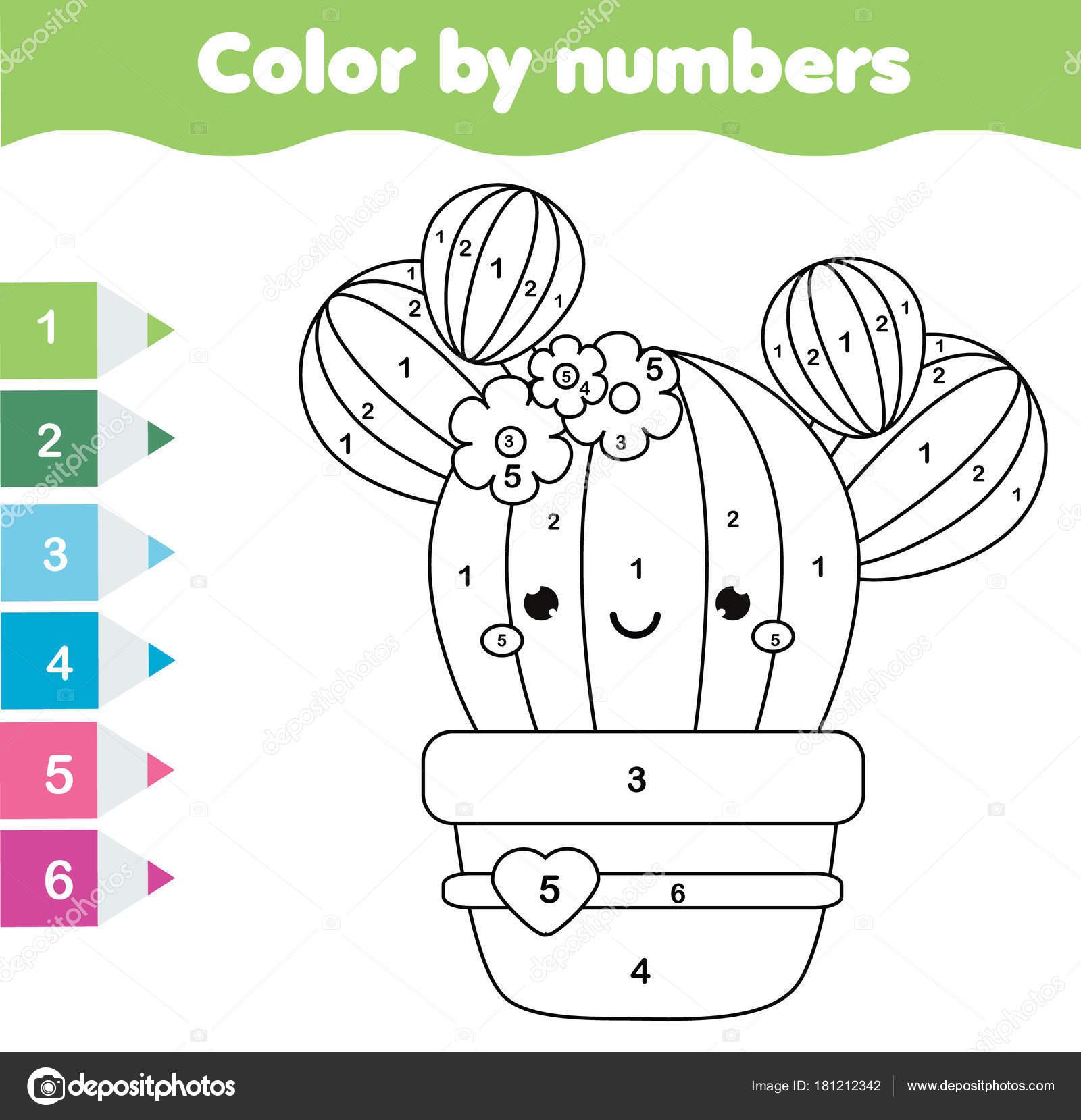 Juego Educativo Los Niños Página Para Colorear Con Nopal Lindo ...