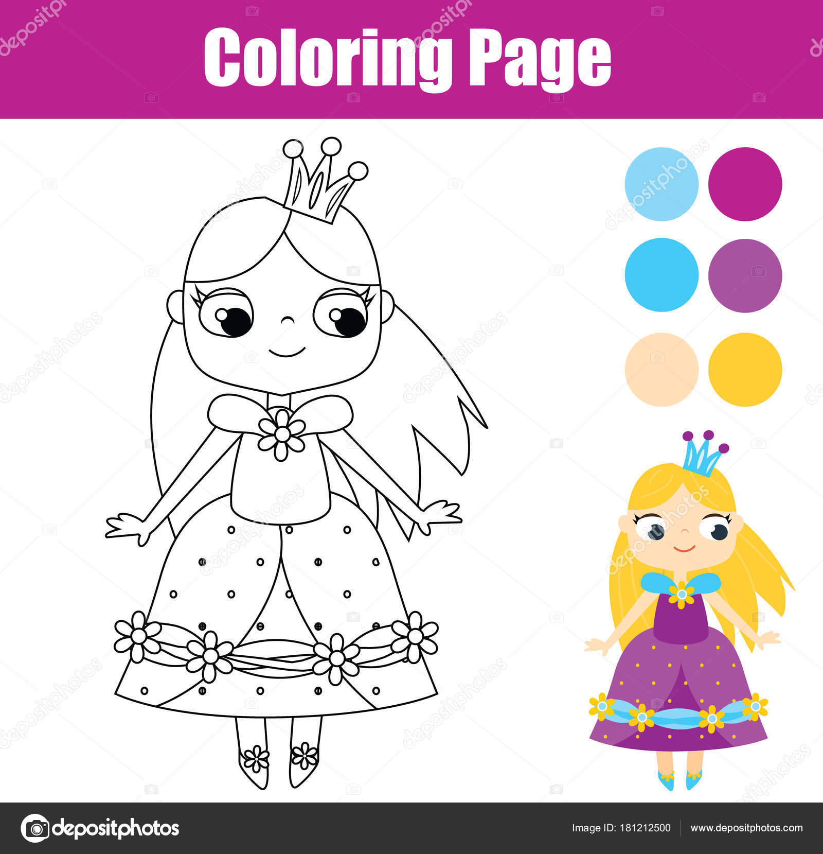 Muñecos Para Colorear Princesas Juego Educativo Los Niños Página