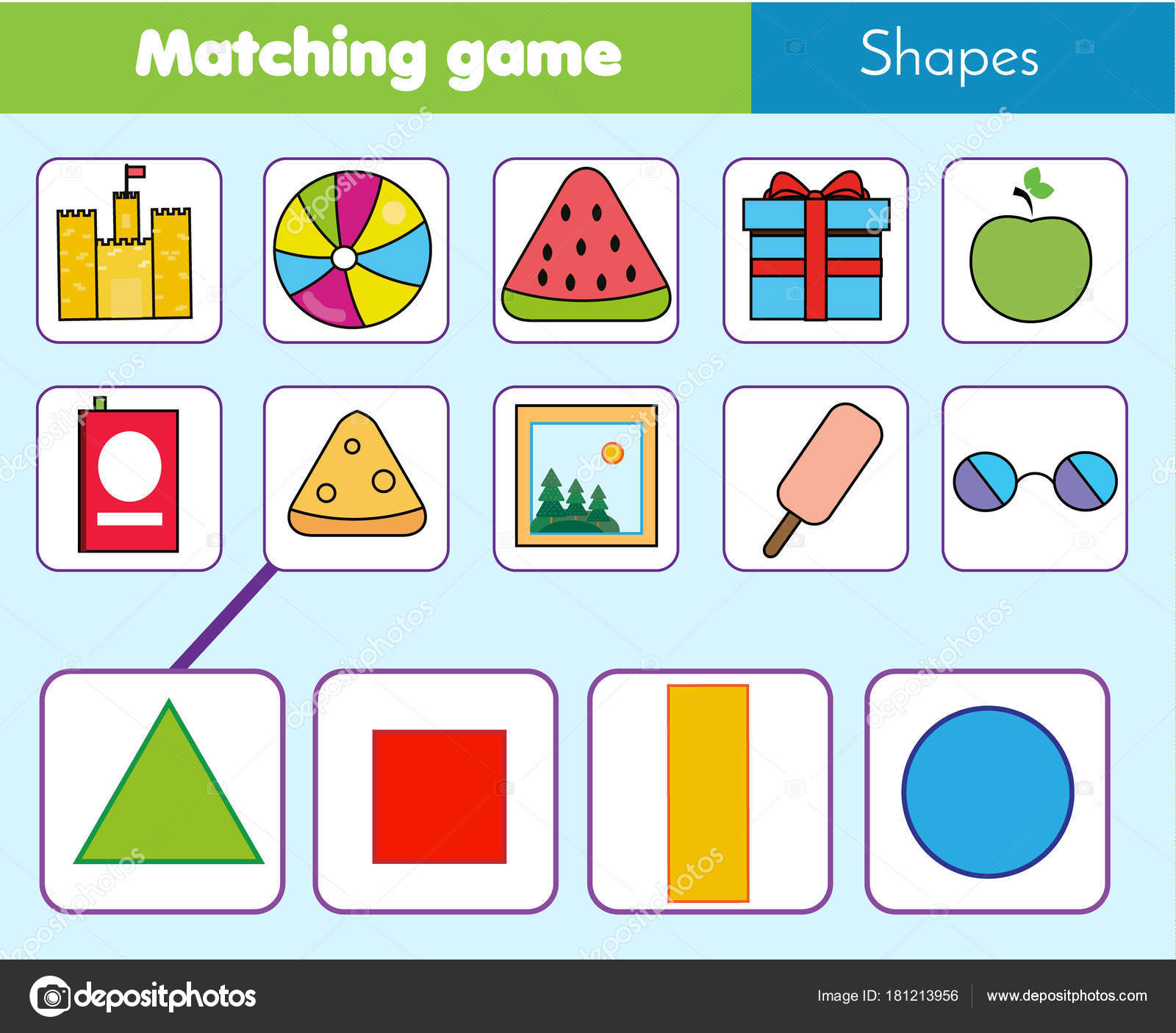 Educational Children Game Matching Game Worksheet Kids Match ...