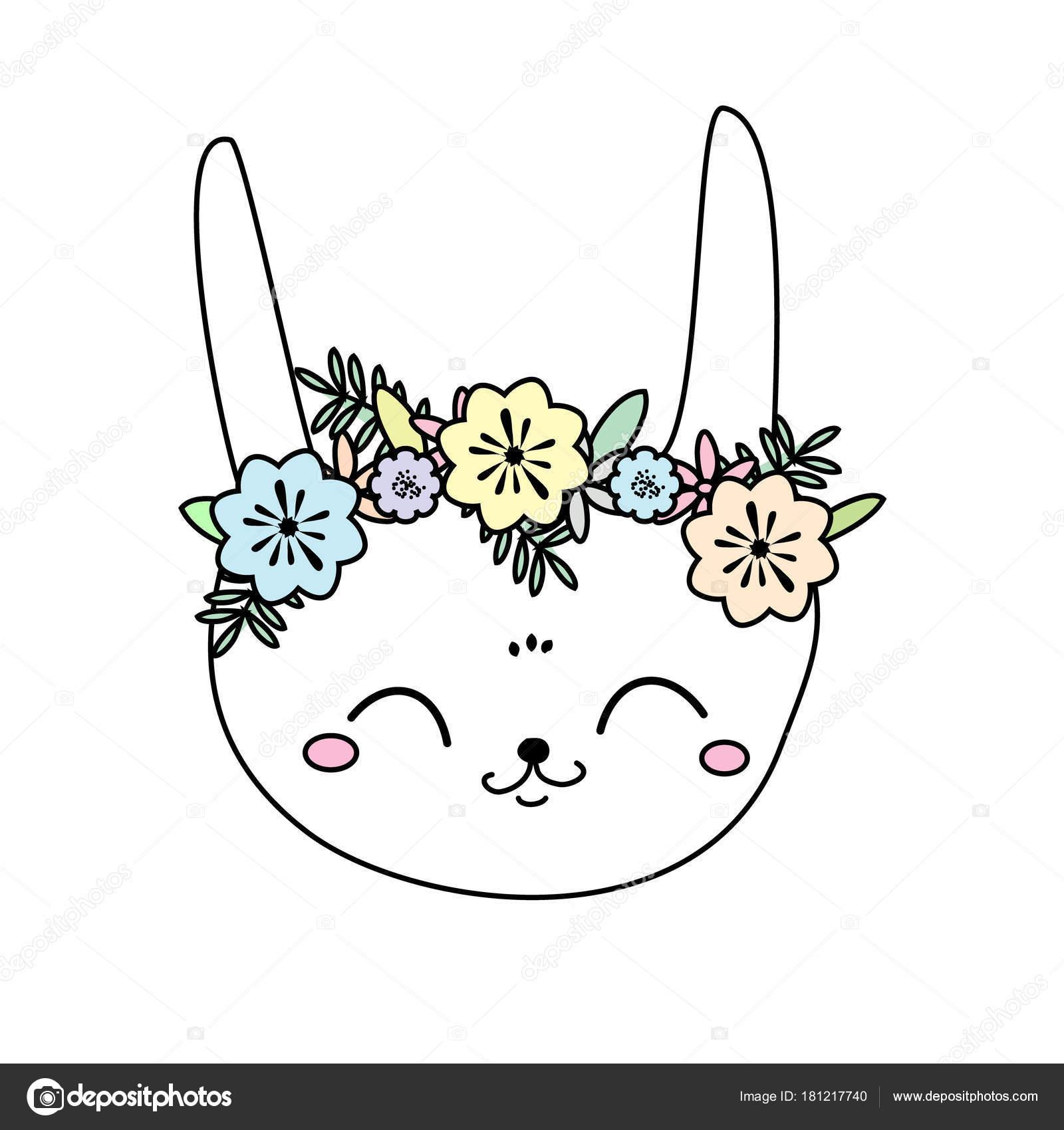 Cute Rabbit Kawaii Bunny Sweet Little Hare Cartoon Animal Face Stock Vector C Bonnyheize Gmail Com 181217740