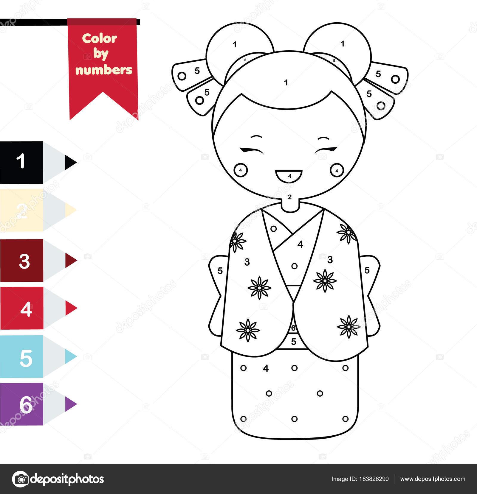 çocuk Eğitim Oyunu Kimono Japon Kız Ile Boyama Sayfası Sayılar
