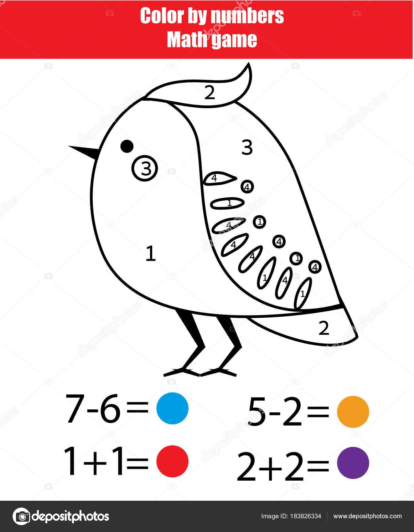 Lernspiel für Kinder. Mathematik-Tour. Farbe durch Zahlen, druckbare ...