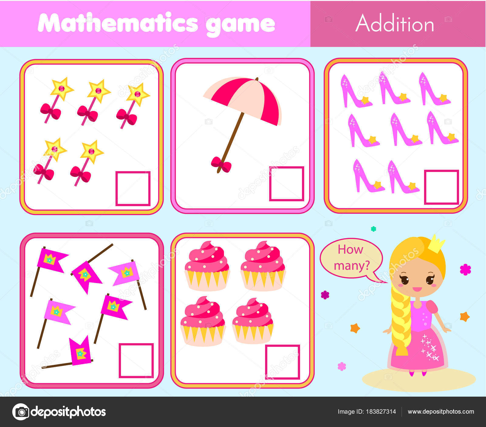 Counting Educational Children Game Math Kids Activity Sheet How Many ...