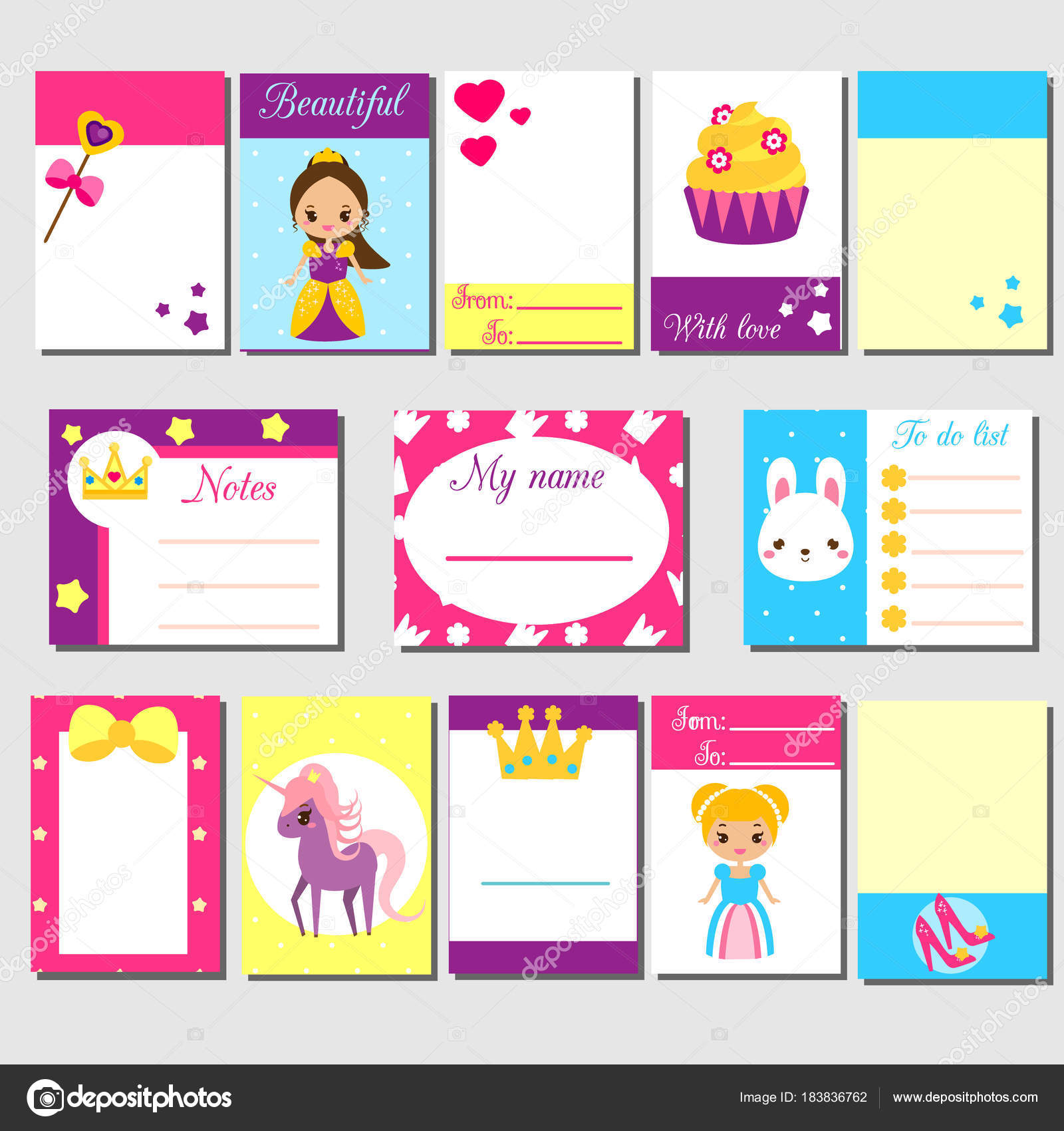 cards, sticky notes, stickers, labels, tags, with cute princess