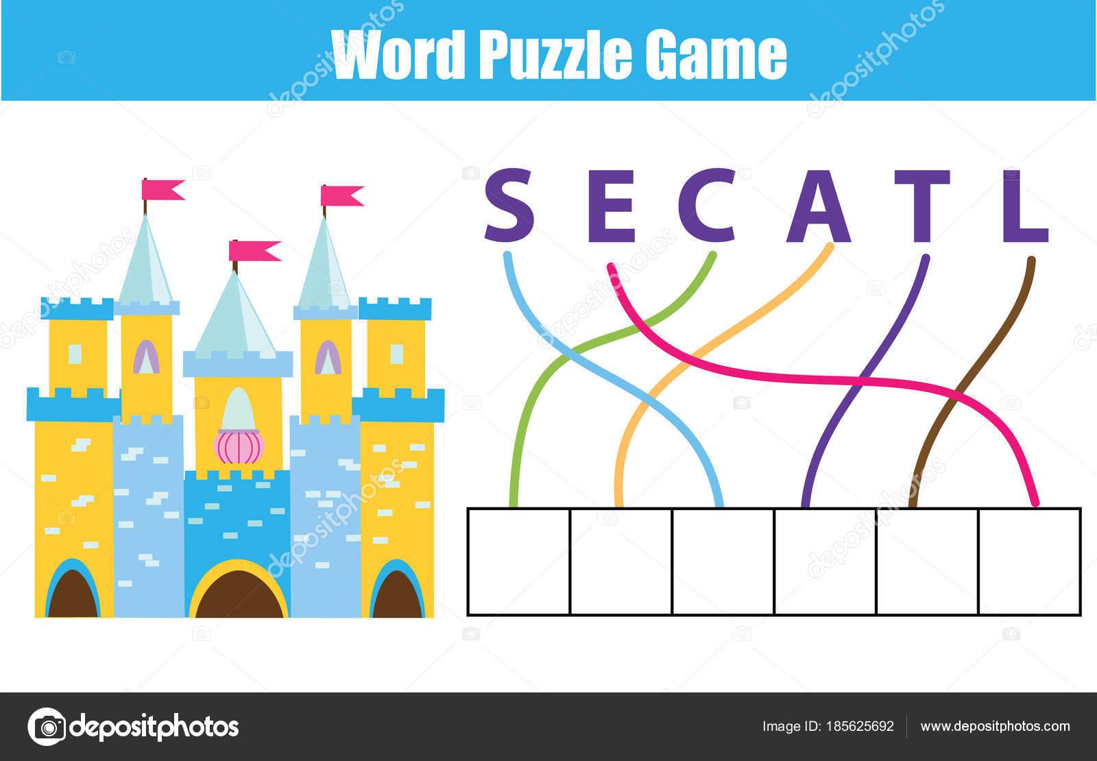 Palabras puzzles niños educativo. Coloque las cartas en orden ...