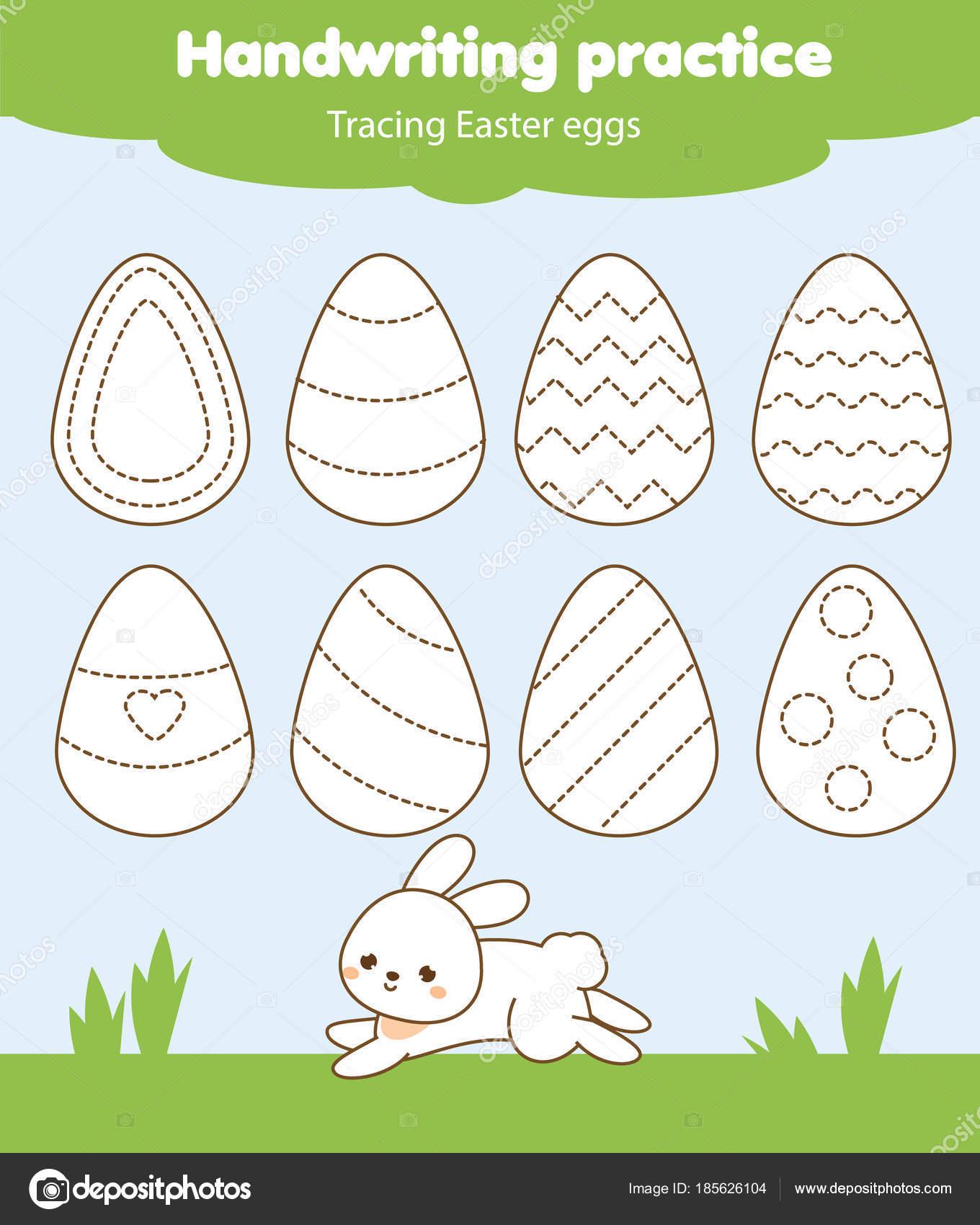 Ostern-Aktivität. Verfolgen die Linien für Kleinkinder. Handschrift ...