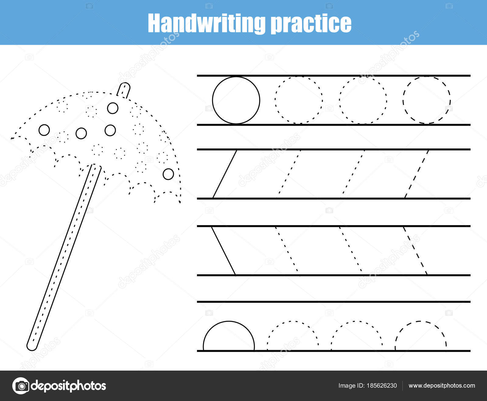 Handwriting Practice Sheet. Educational Children Game, Printable Worksheet  For Kids. Writing Training Printable Worksheet With Arc, Circles And Lines  And ...