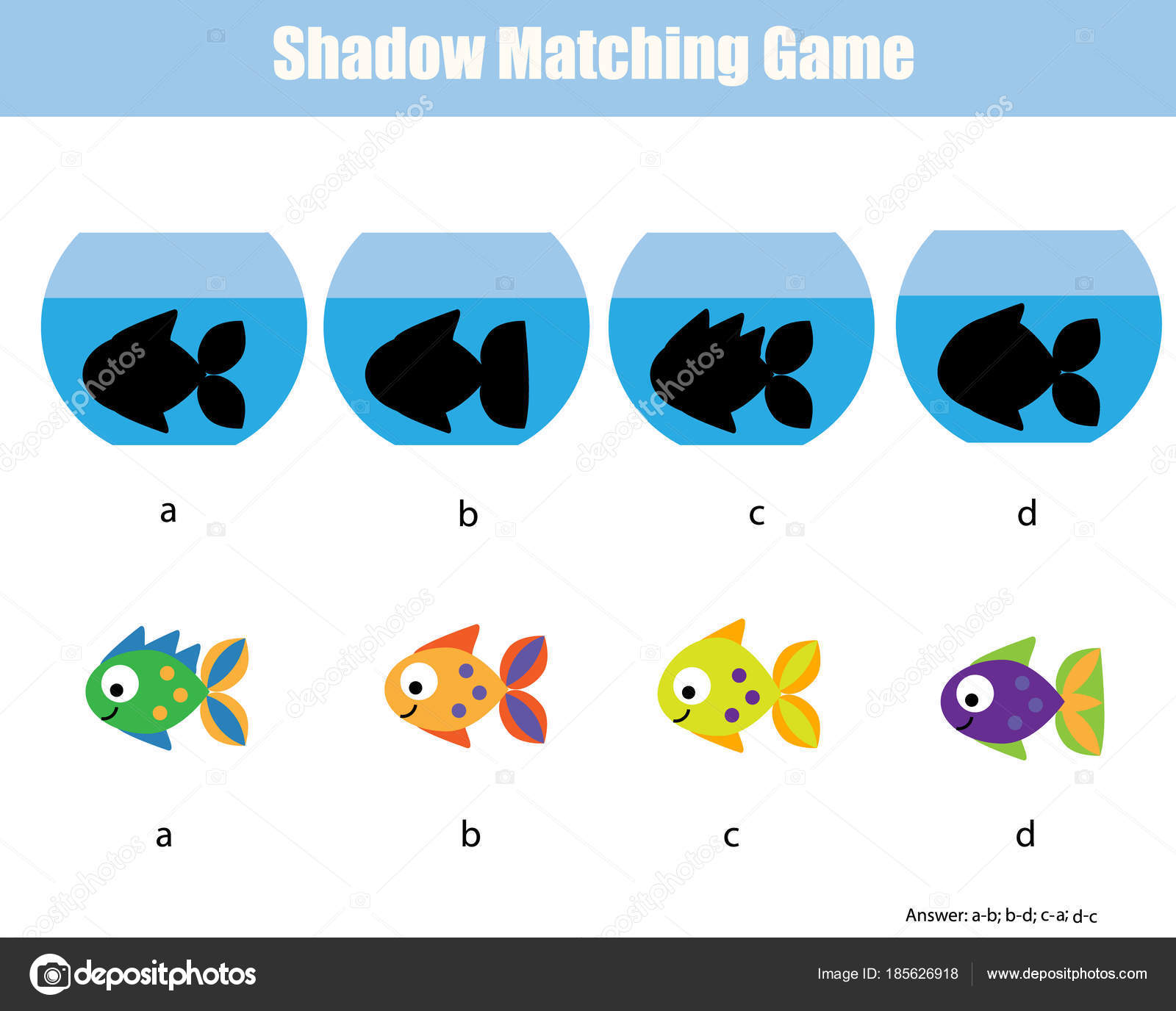Schatten-matching-Spiel. Aktivitäten der Kinder mit Fischen ...