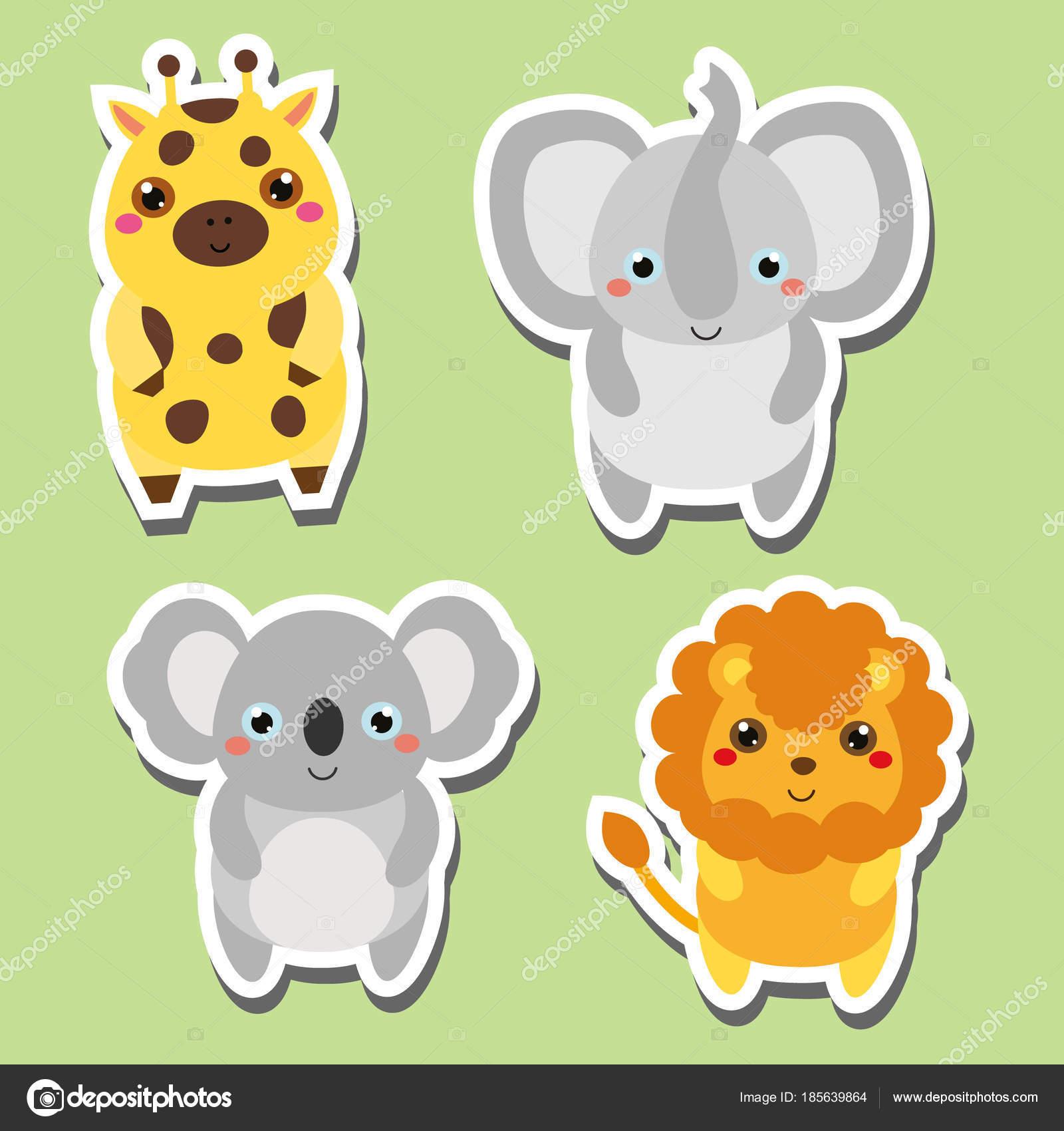 Cute Kawaii Tiere Aufkleber Set Vektor Illustration Koala Giraffe Elefant Lowe