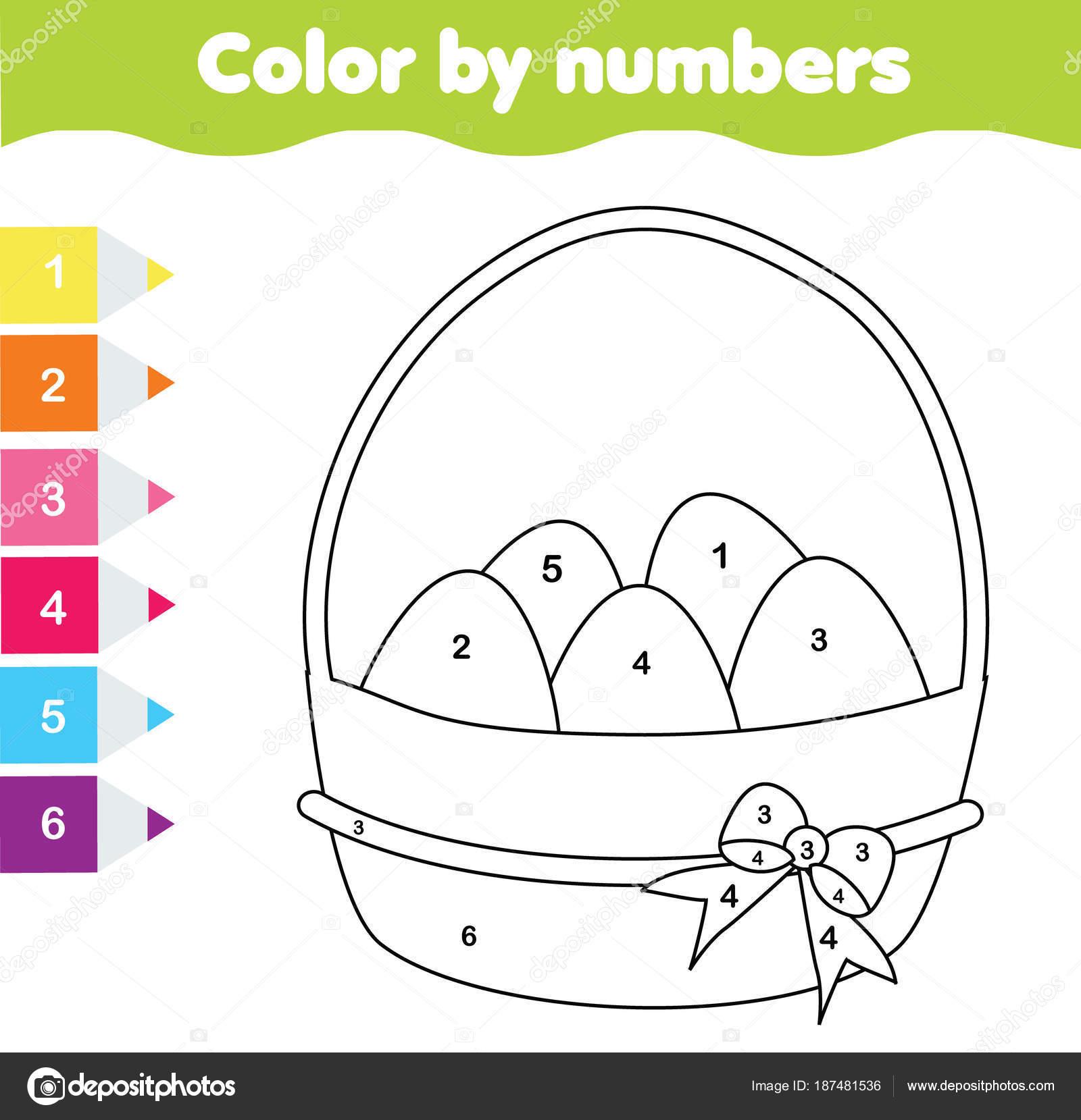 Kleurplaten Peuters Pasen.Pasen Tekening Spel Kleur Door Getallen Afdrukbare Werkblad