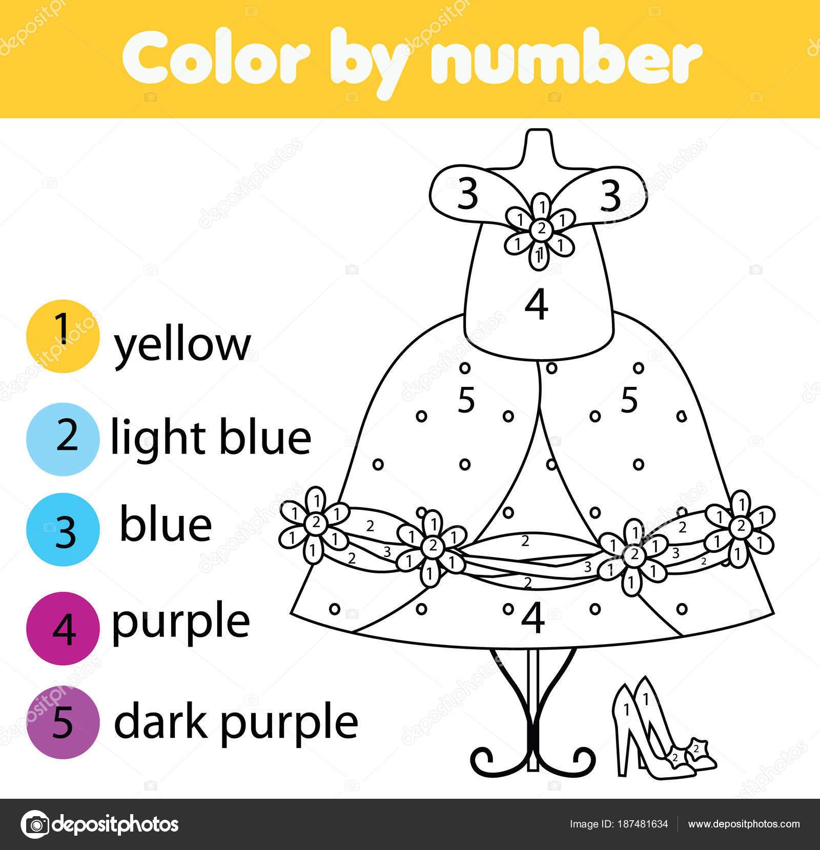 Gioco Educativo Bambini Pagina Colorare Vestito Alla Moda Dai Numeri