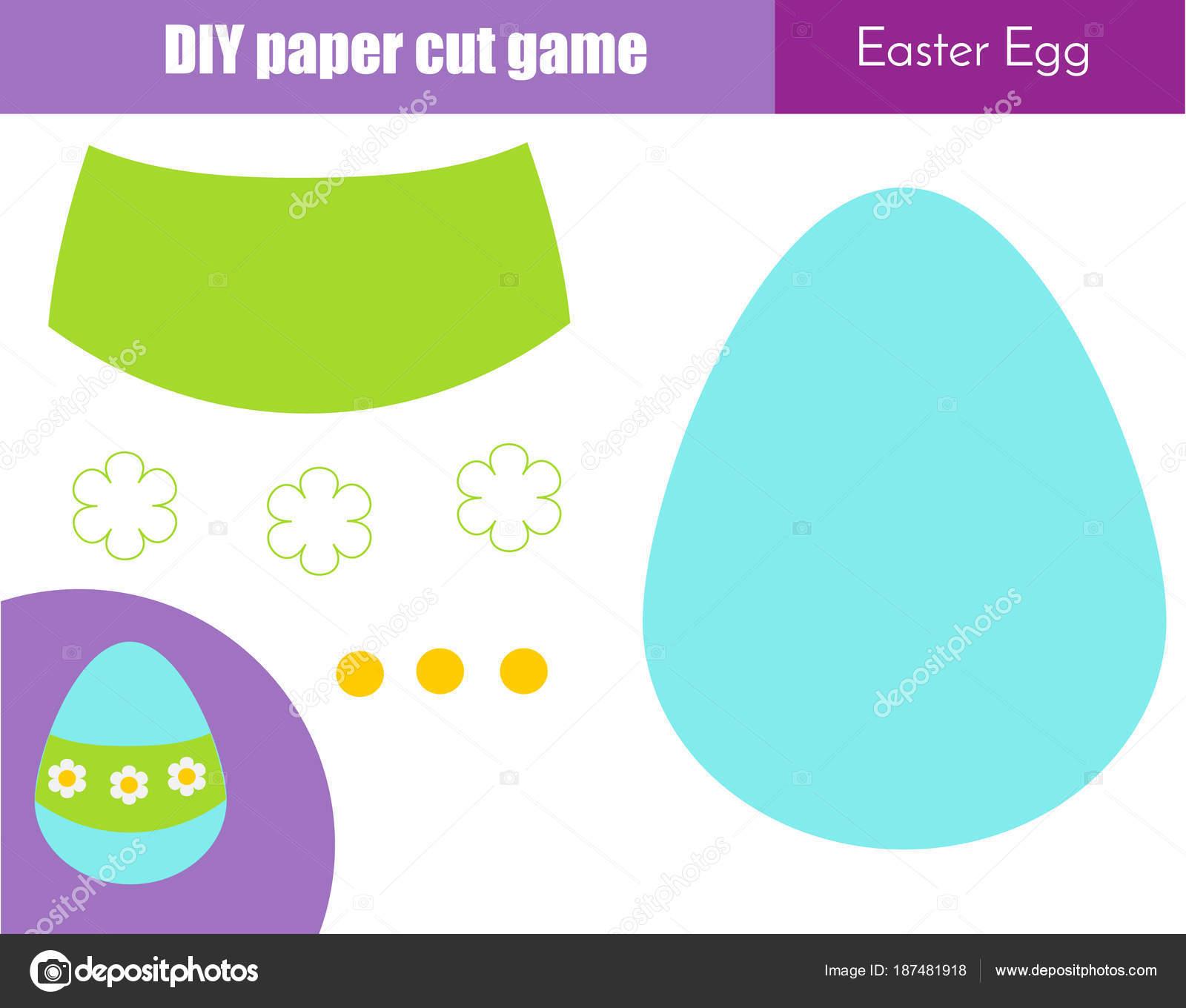 Machen Sie Osterei mit Klebstoff und Schere. Papier Schneiden ...