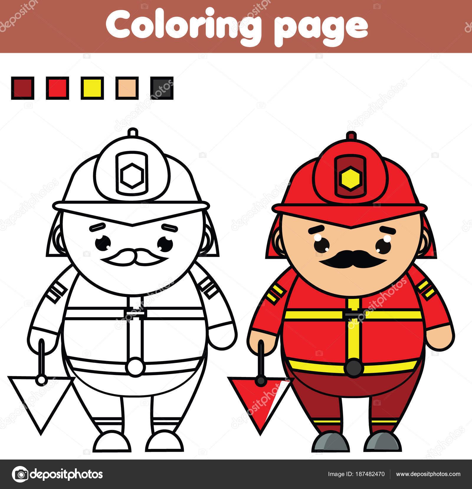 Bombero. Página para colorear. Juego educativo. Actividad imprimible ...
