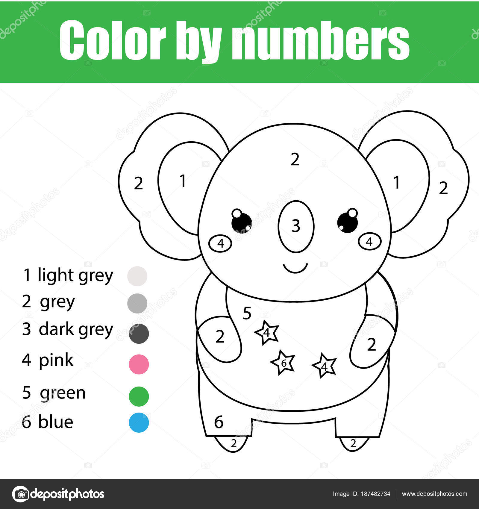 Children Educational Game Coloring Page Cute Koala Color Numbers