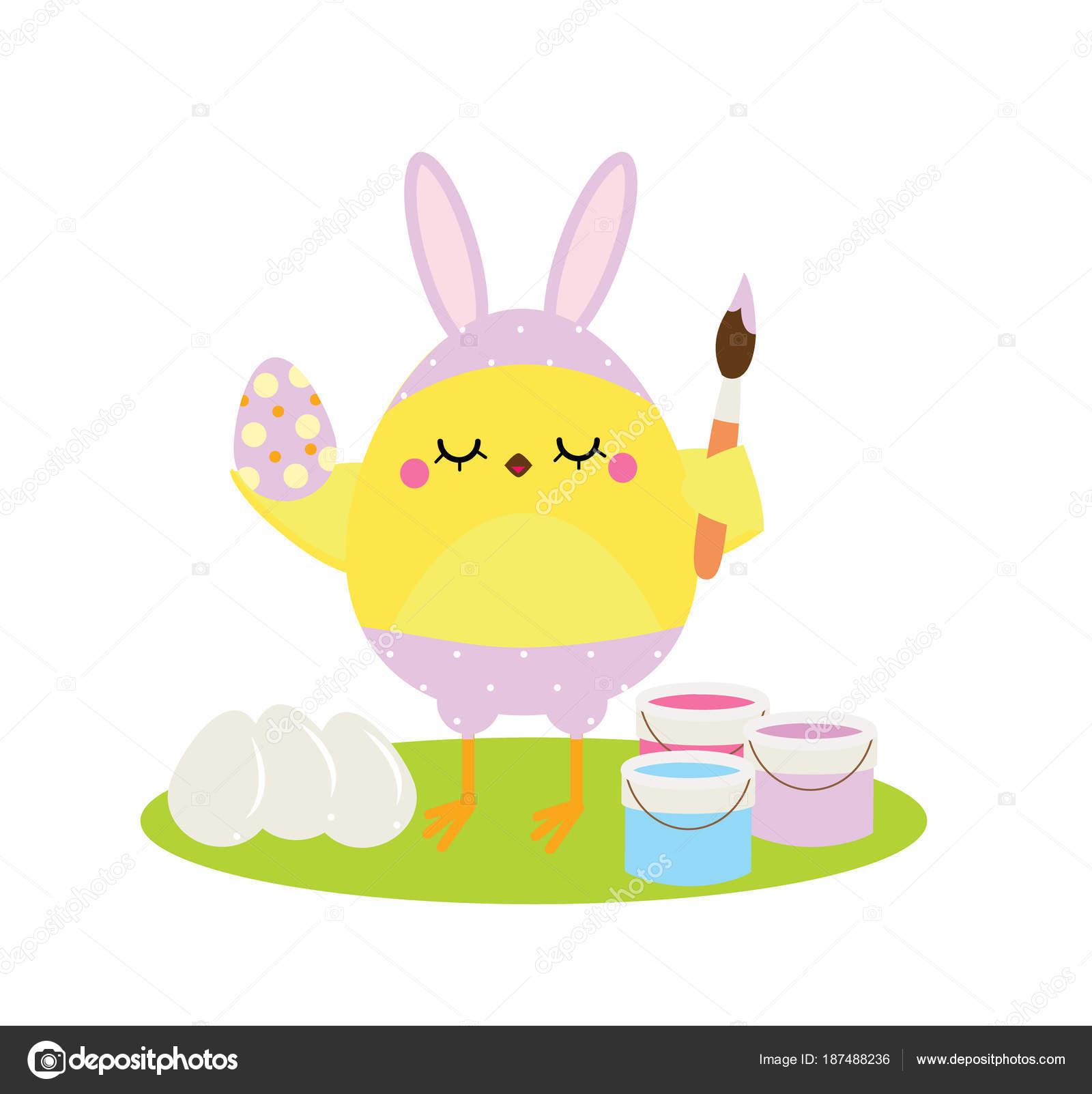 Pollo lindo de la historieta en orejas de conejo pintando huevos de ...