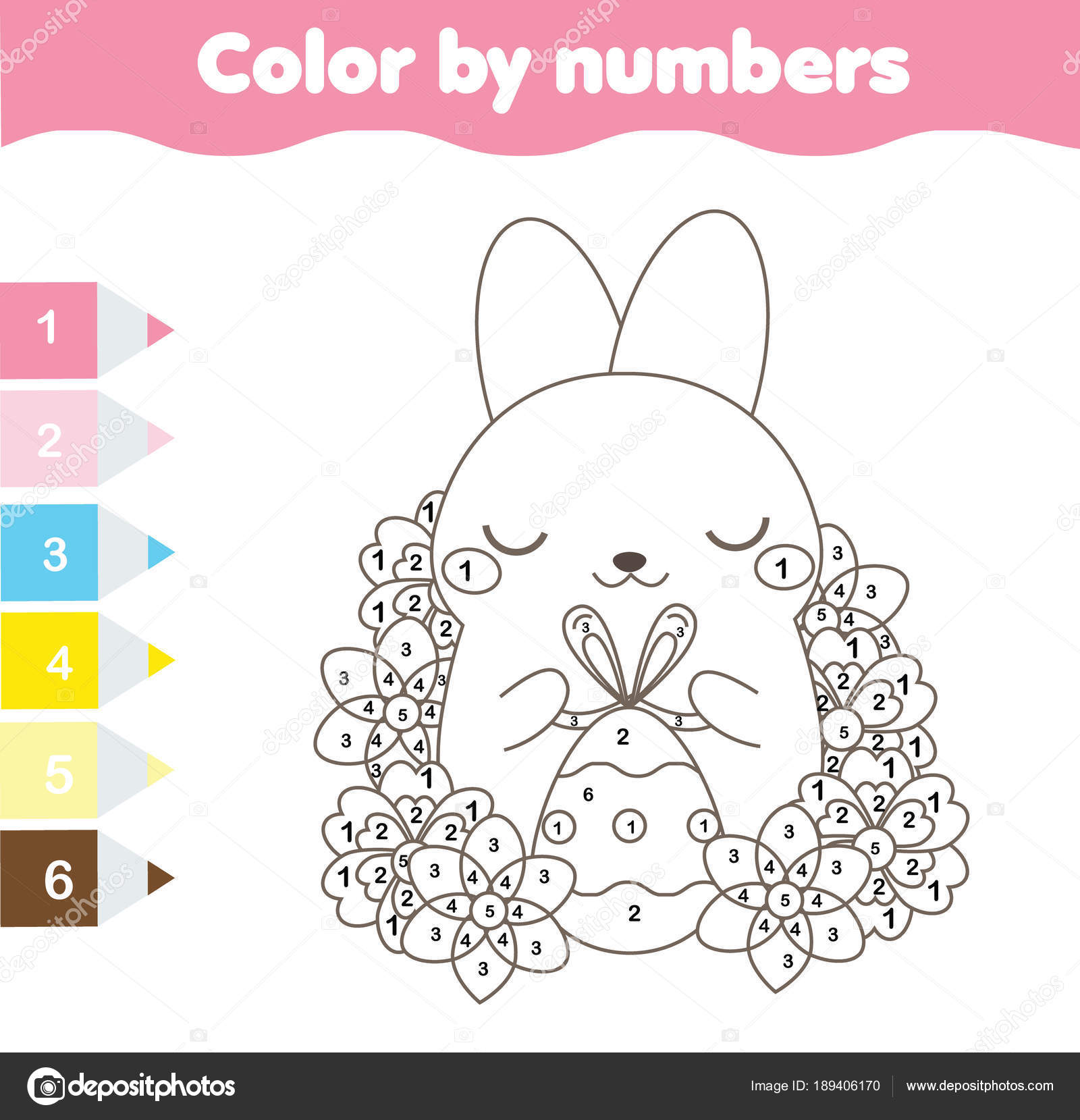 Easter Coloring Page Color By Numbers Printable Worksheet Cute - Easter-coloring-pages-toddlers