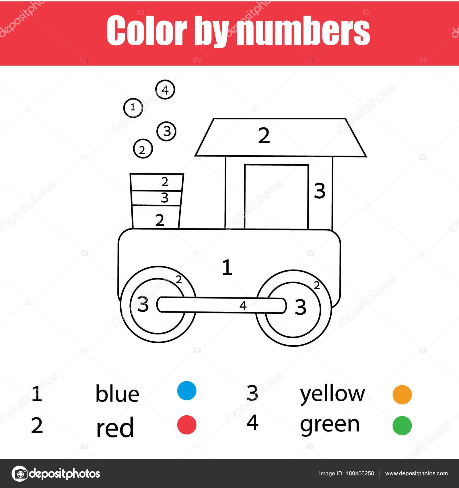 Página Para Colorear Tren Juguete Colorea Por Números Hoja Cálculo ...