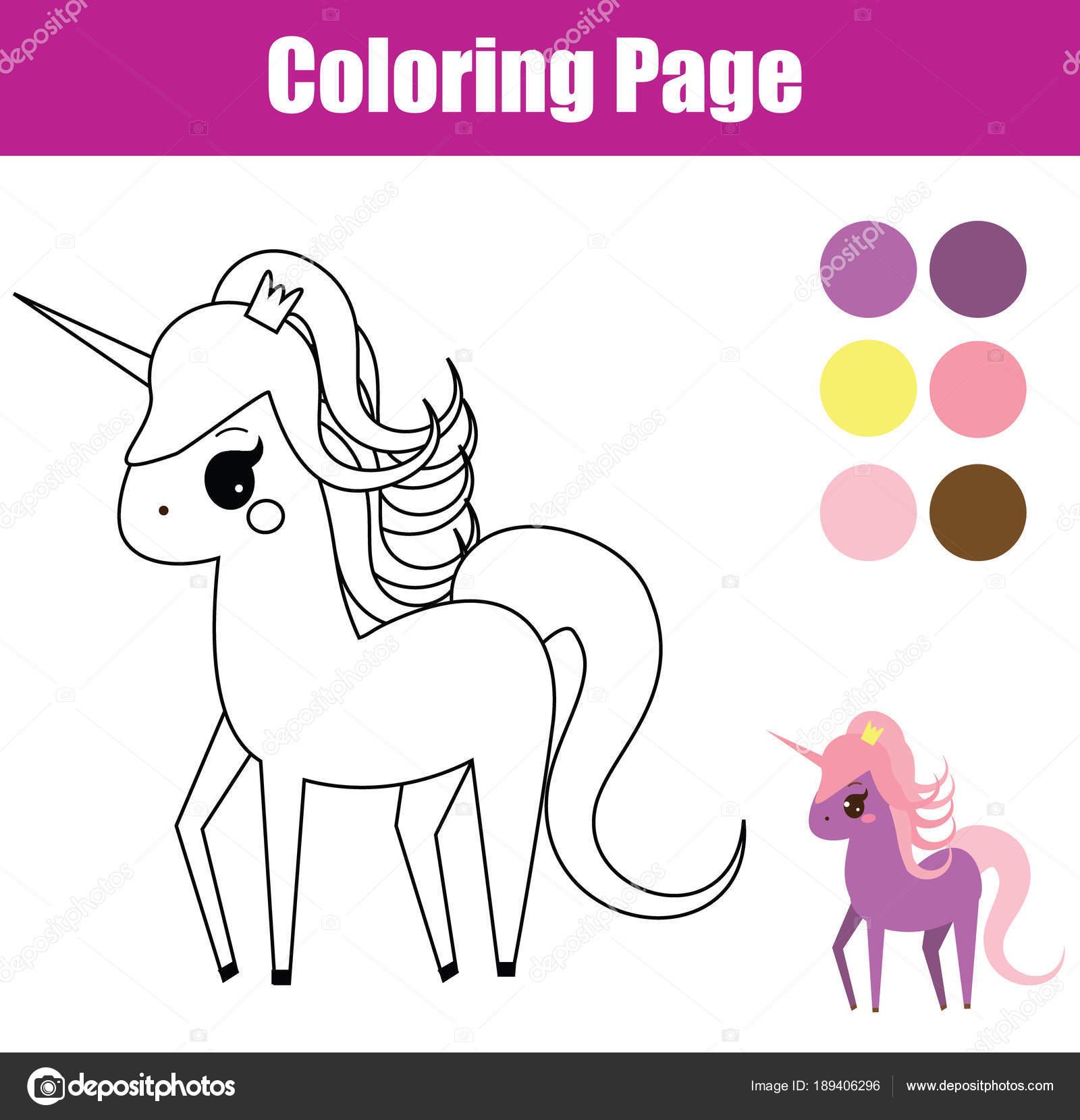 Página Para Colorear Juego Educativo Los Niños Unicornio Pony Hadas ...