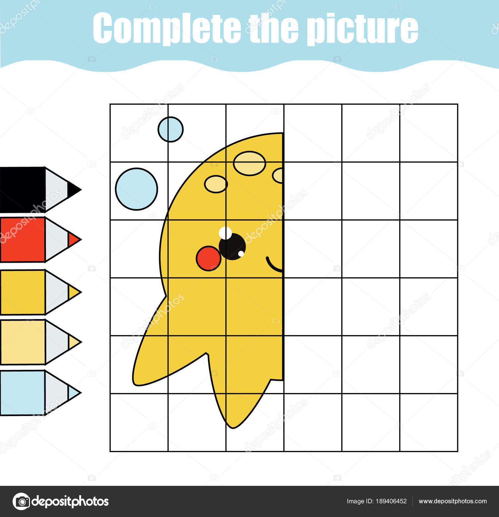 Raster-Kopie Zeichnung Aktivität. Pädagogische Kinder Spiel ...