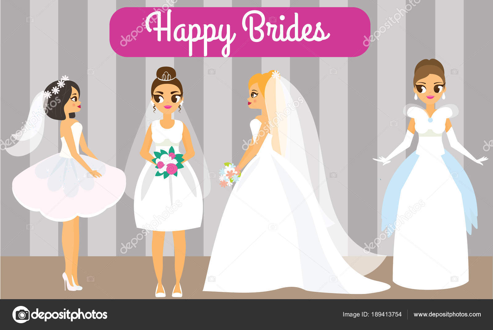 Novias Dibujos Animados Felizes Mujeres Vestidos Novia