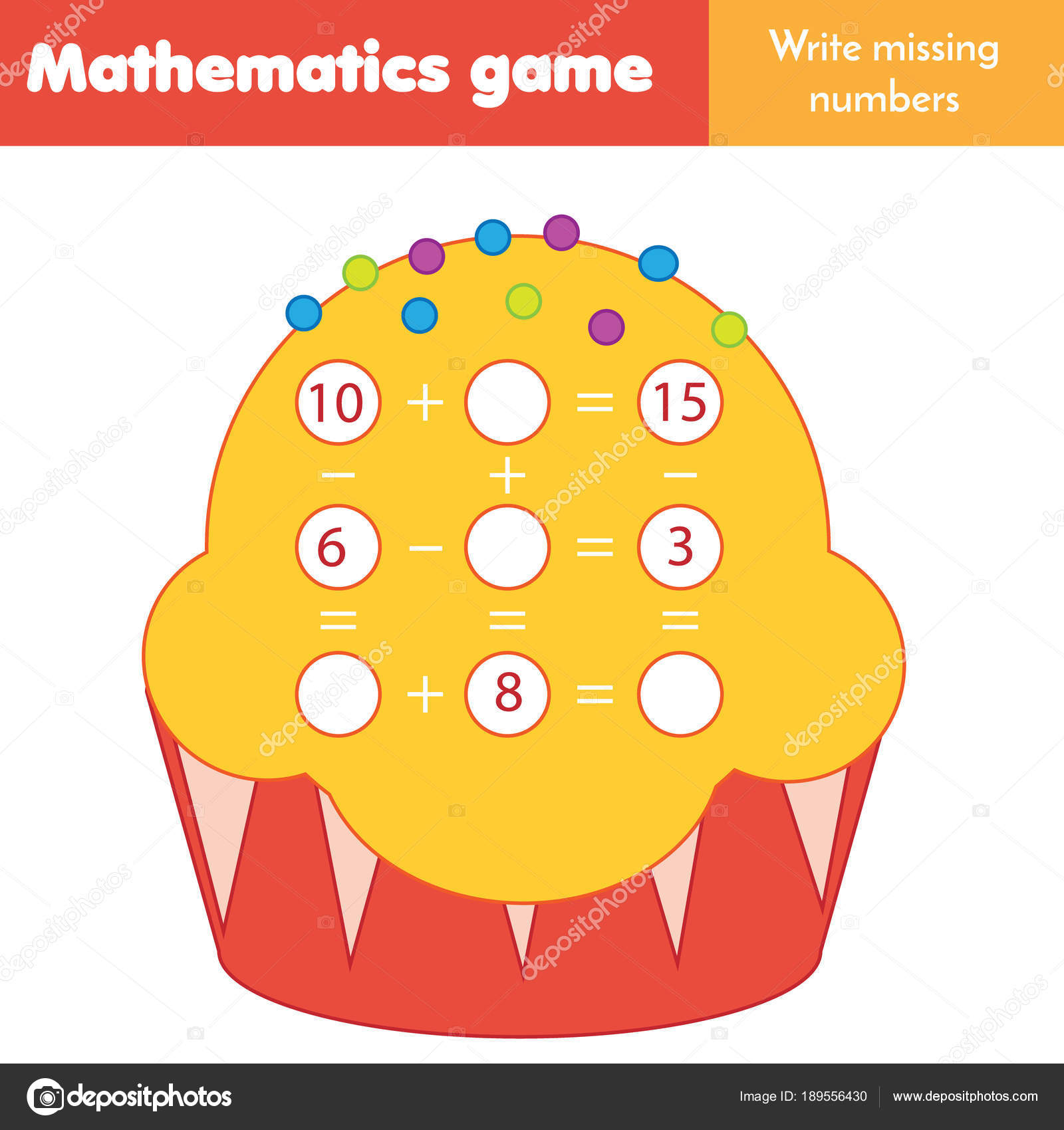 Math Educational Game Children Counting Equations Study Subtraction ...