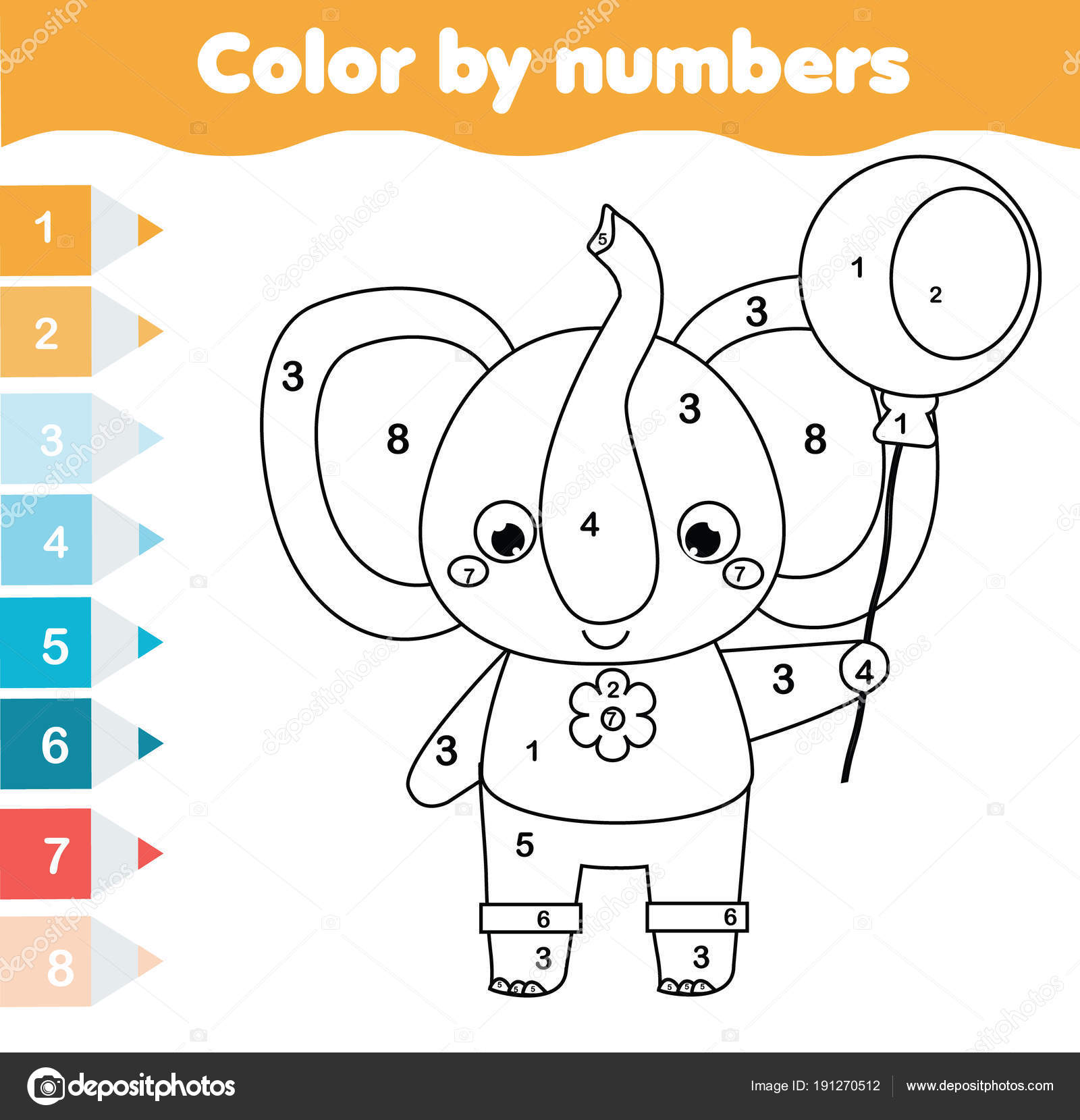 Children Educational Game Coloring Page Elephant Color Numbers