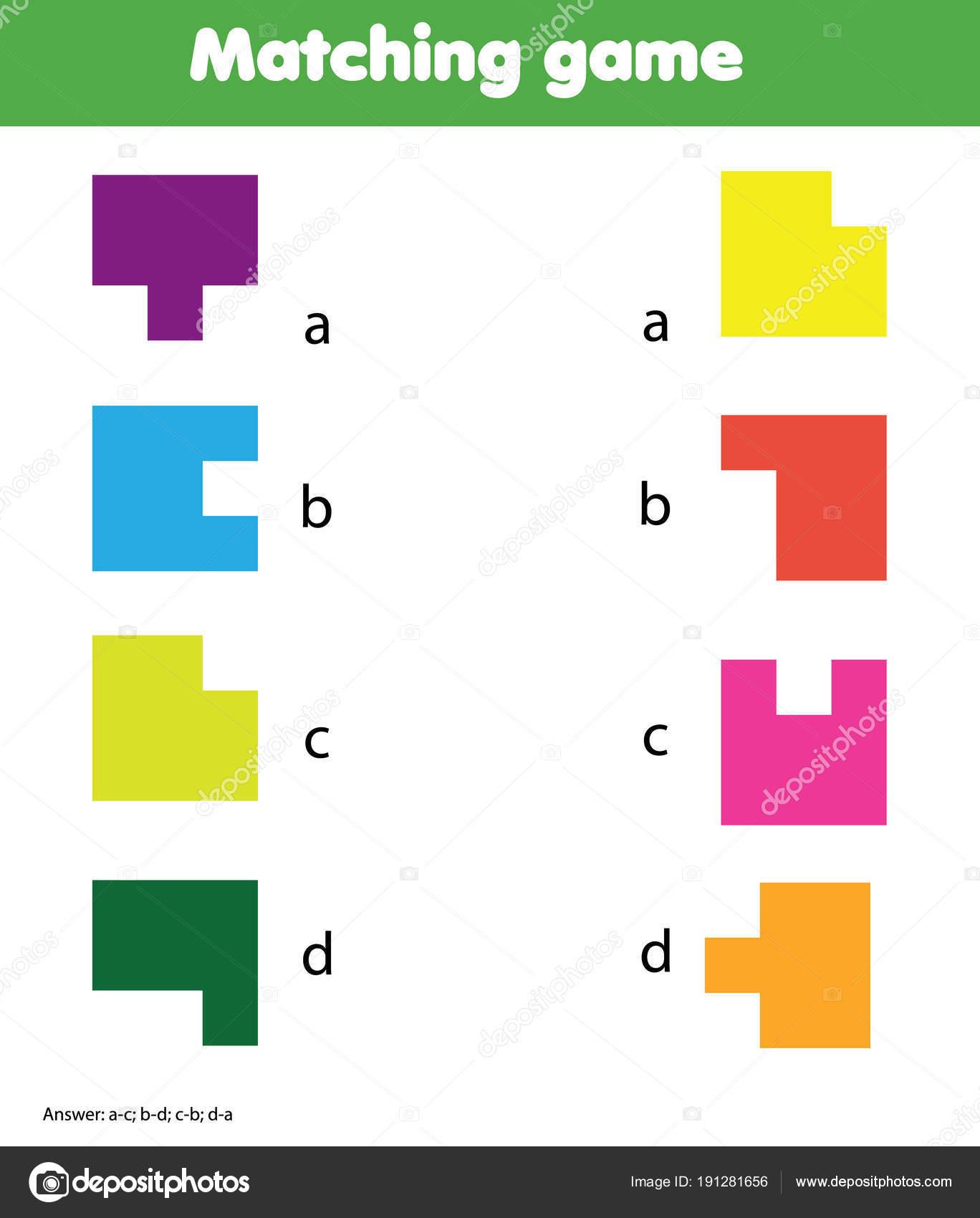 Matching-Spiel. Pädagogische Kinder Aktivität. Lernen von ...