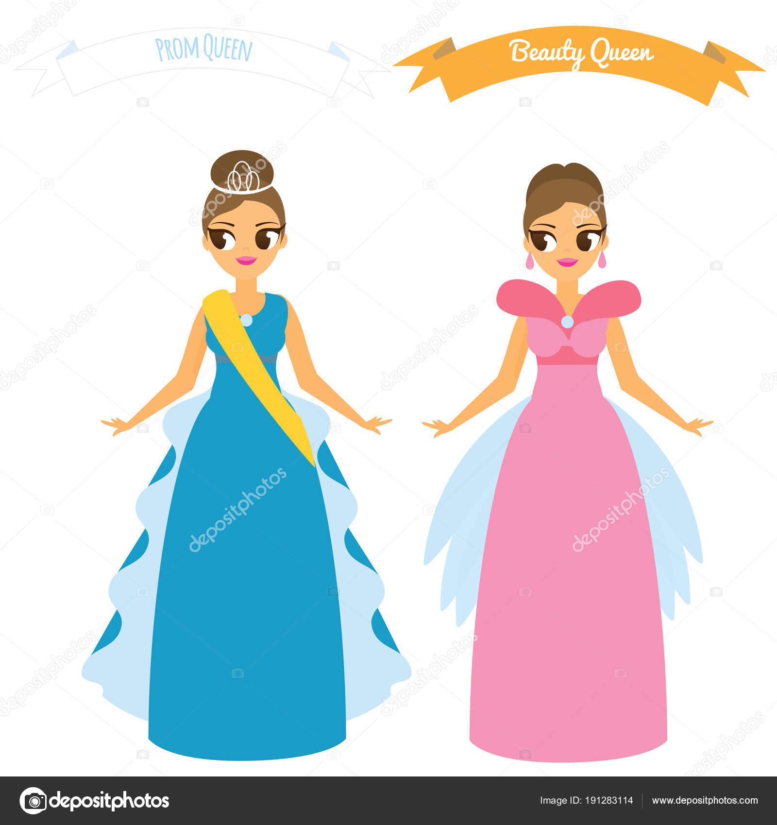 Cartoon-Weibchen in langes Kleid Nacht party Kleider ...
