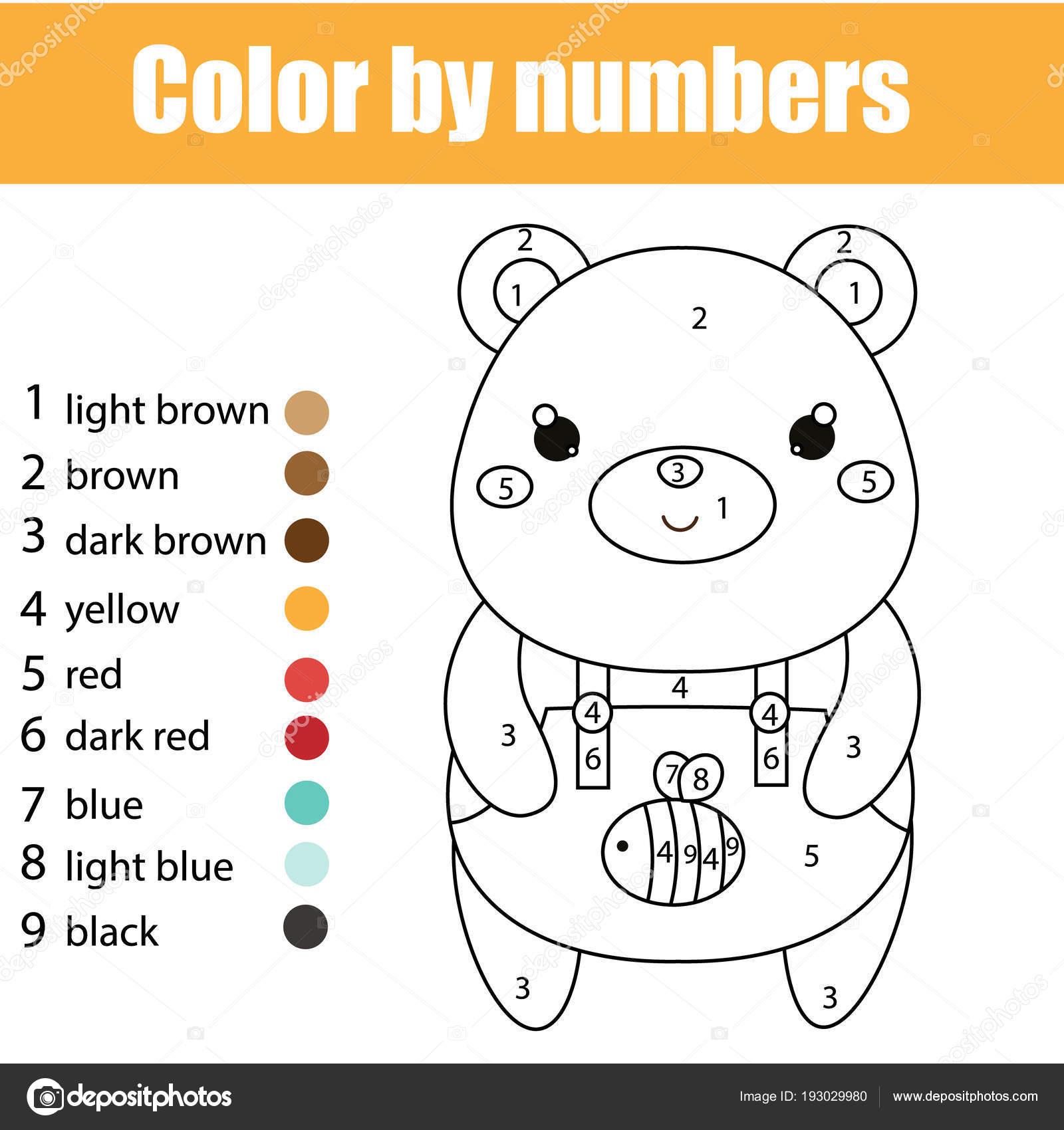 çocuk Eğitim Oyunu Sevimli Ayı Ile Boyama Sayfası Sayı