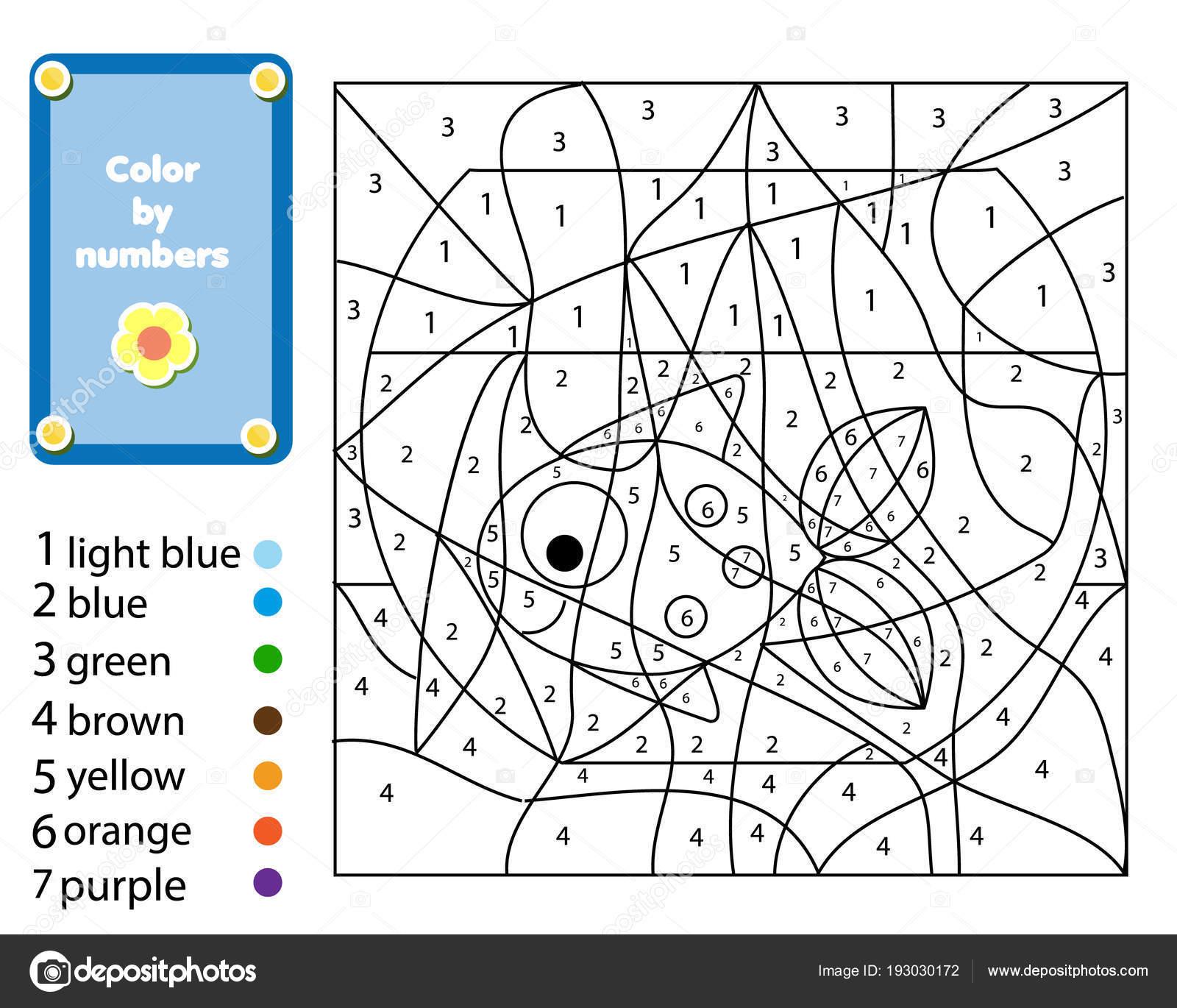 Juego Educativo Los Niños Página Para Colorear Con Peces