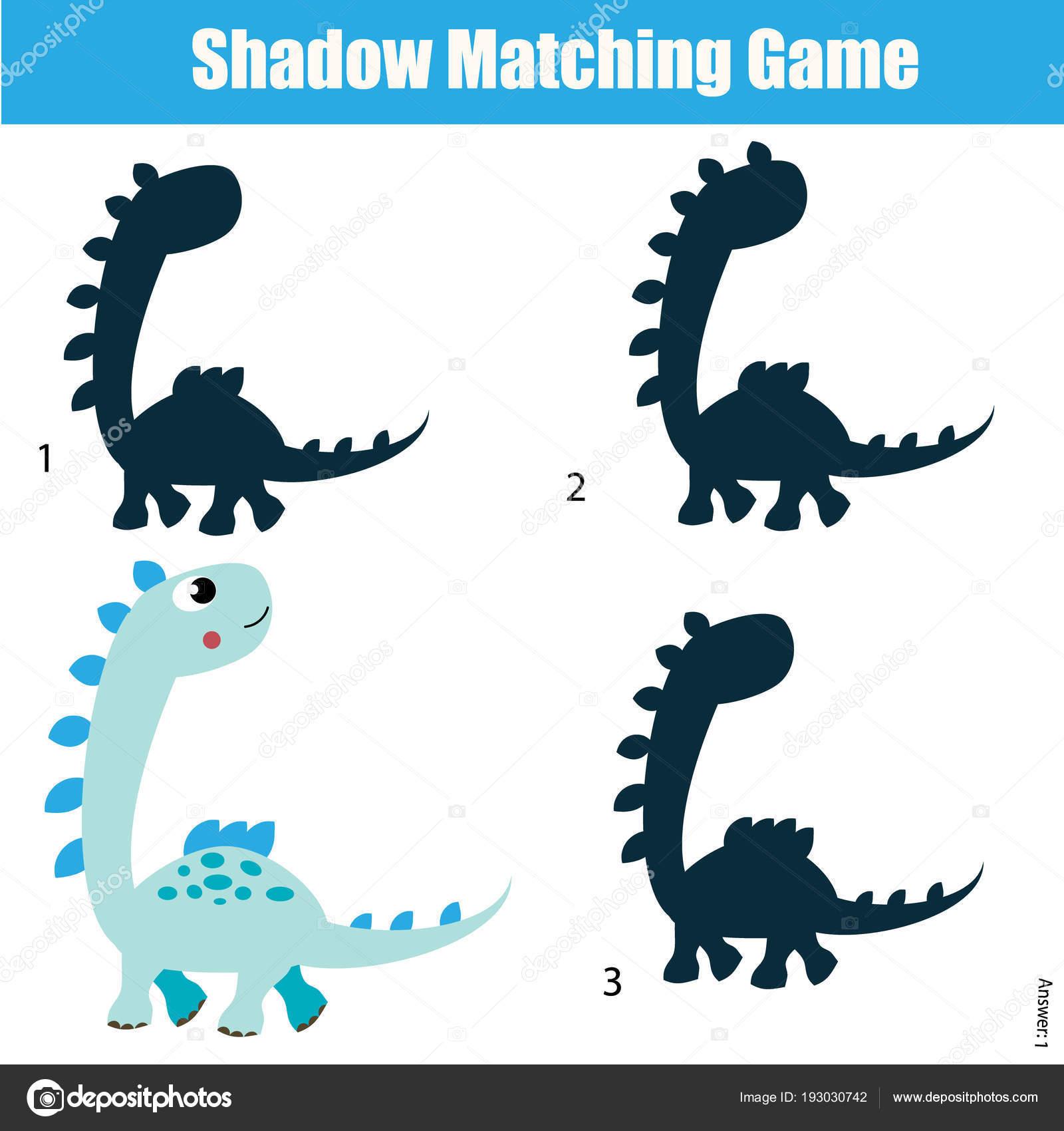 Schatten-matching-Spiel. Aktivitäten der Kinder mit Dinosaurier ...