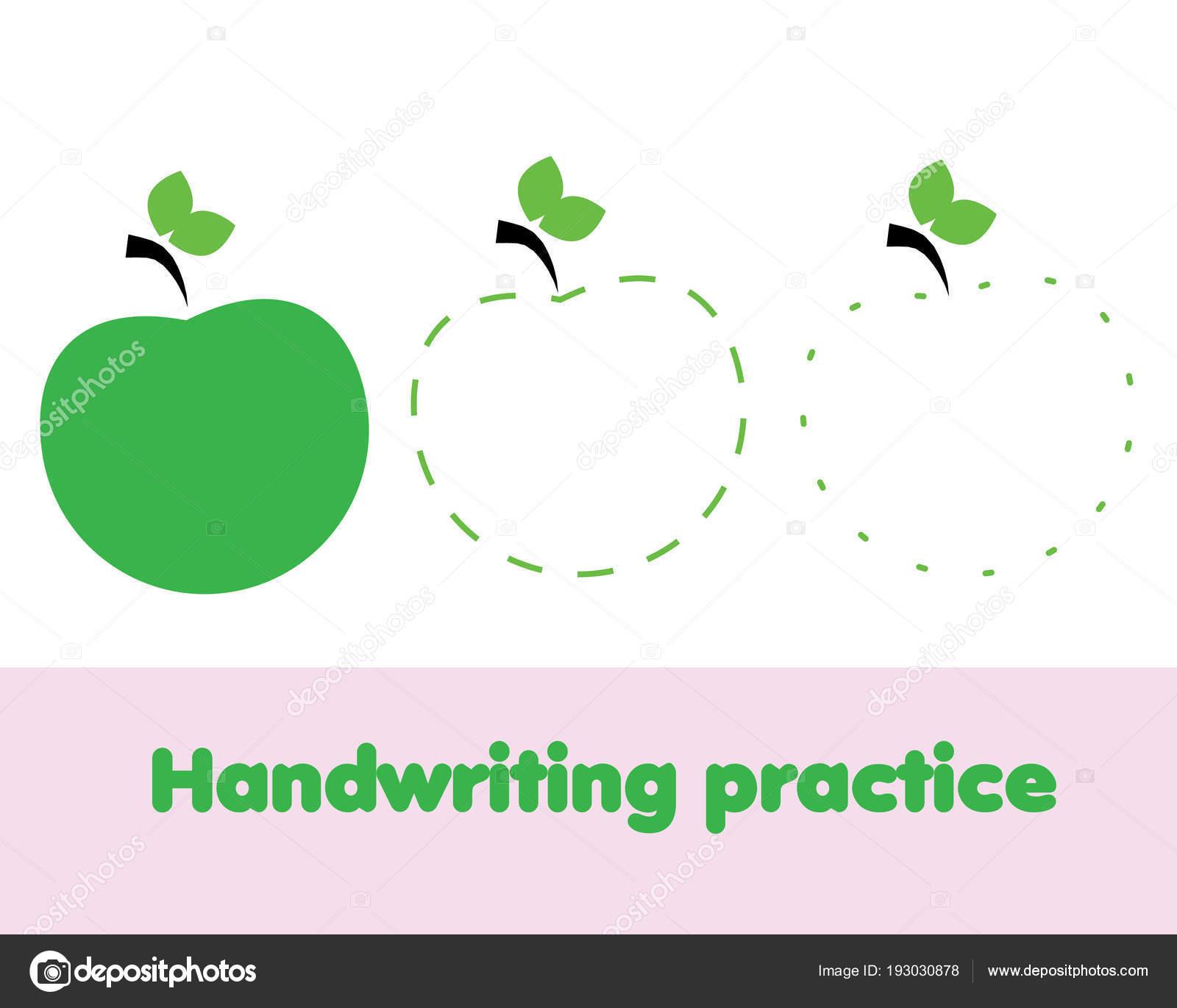 Linien Nachzeichnen Für Kleinkinder Mit Apfelfrucht Handschrift