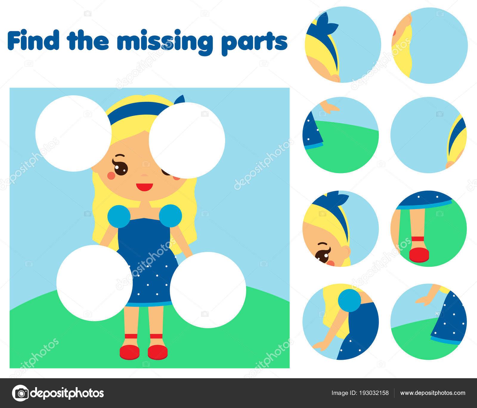 Puzzle-Spiel, fehlende Teil des Bildes zu finden. Pädagogische ...