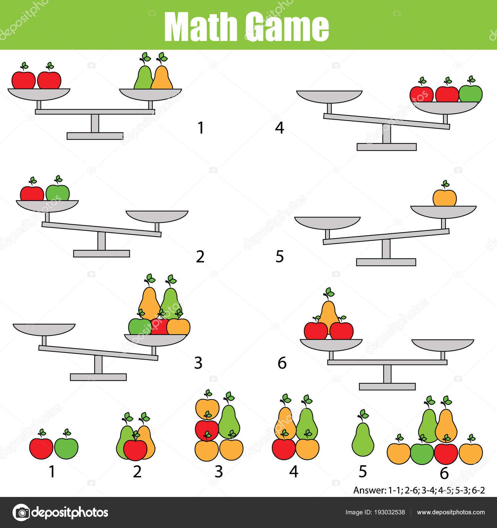 Mathematik Lernspiel Für Kinder Gleichgewicht Der Waage Lernen ...