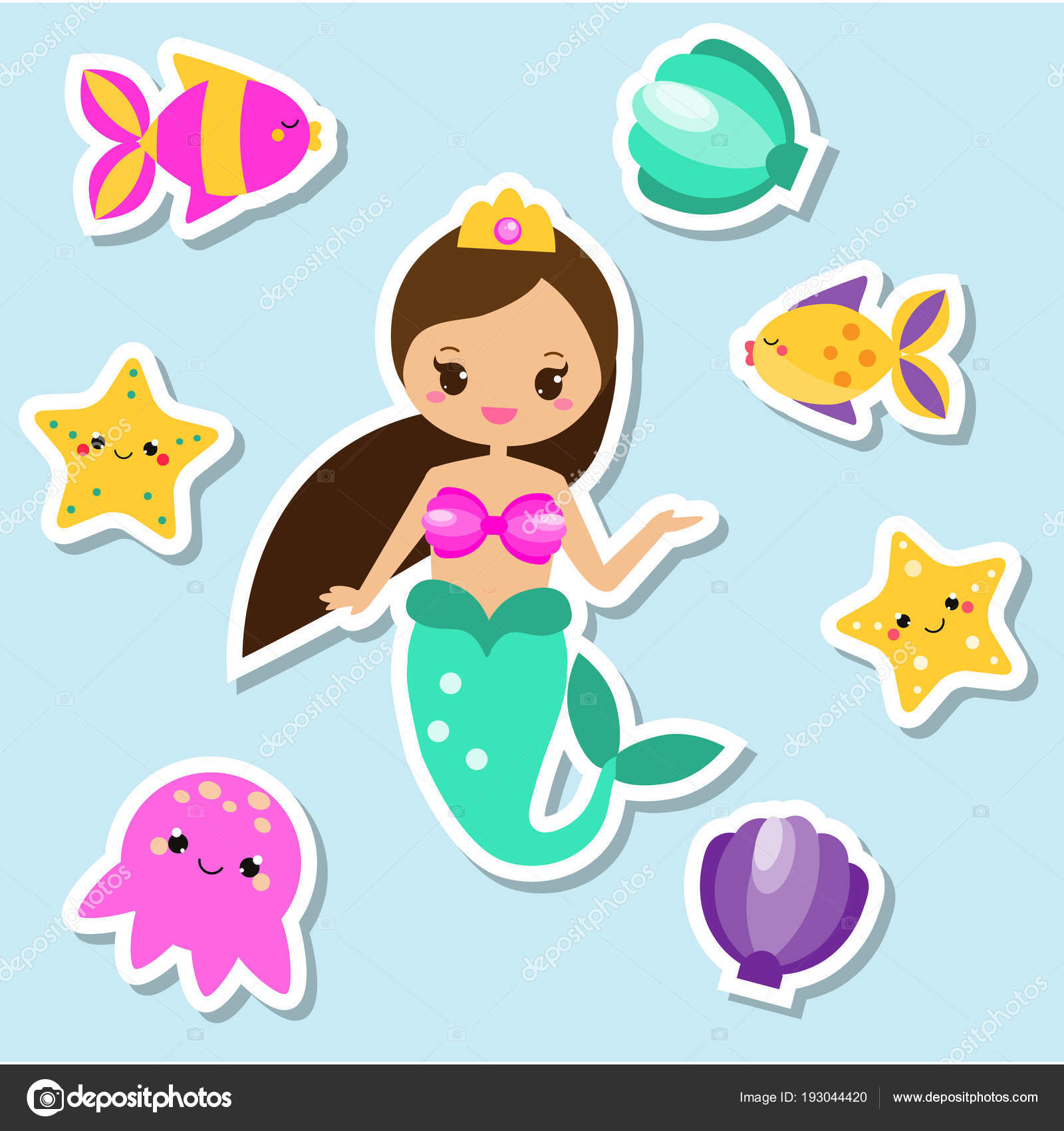 Set Adesivi Sirena Elementi Fata Scrapbook Kids Design Bambini