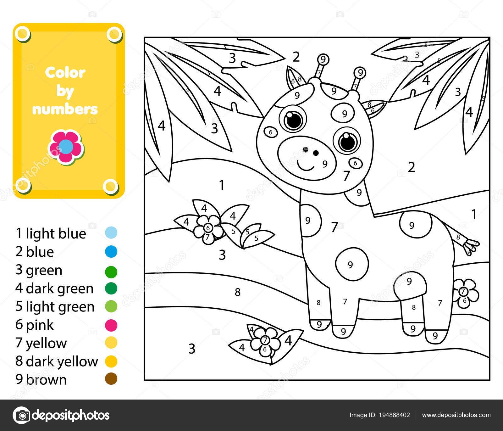 Juego Educativo Los Niños Página Para Colorear Jirafas Selva Colorea