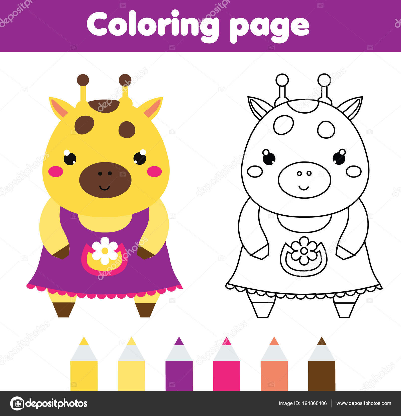 picture relating to Printable Kid Activity named Coloring web page with adorable giraffe. Drawing small children sport