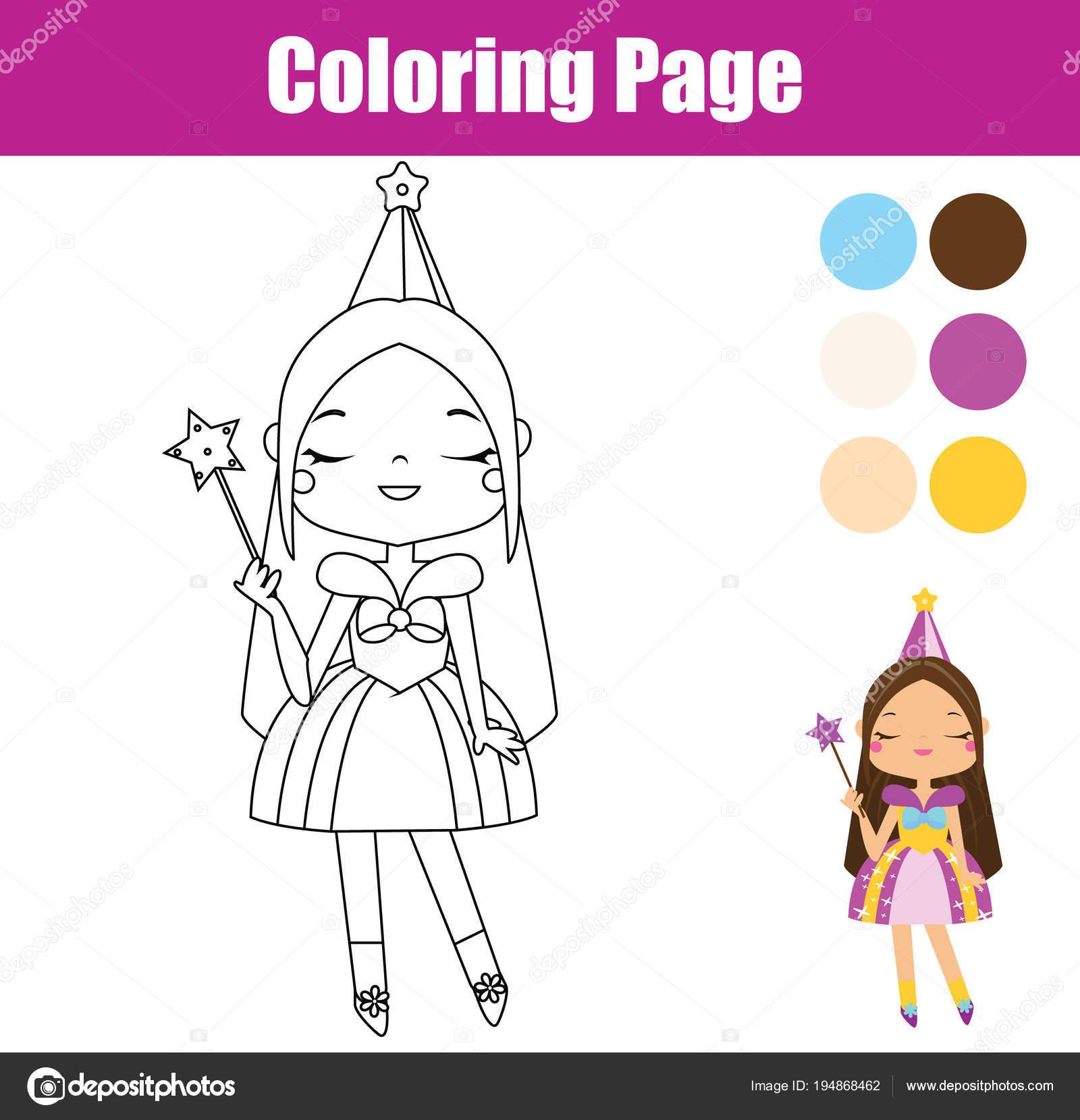 Prenses Boyama Sayfası Eğitici Bir Oyun Yeni Yürümeye Başlayan