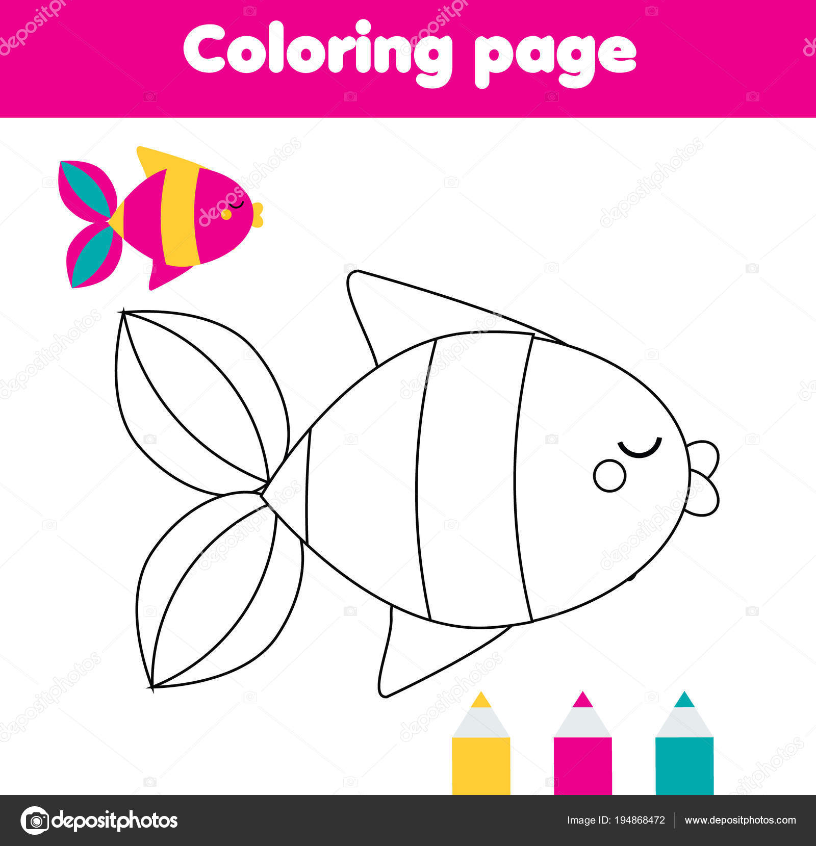 Balık Boyama Sayfası çizim Kids Hareket Küçük Bebekler Için Stok