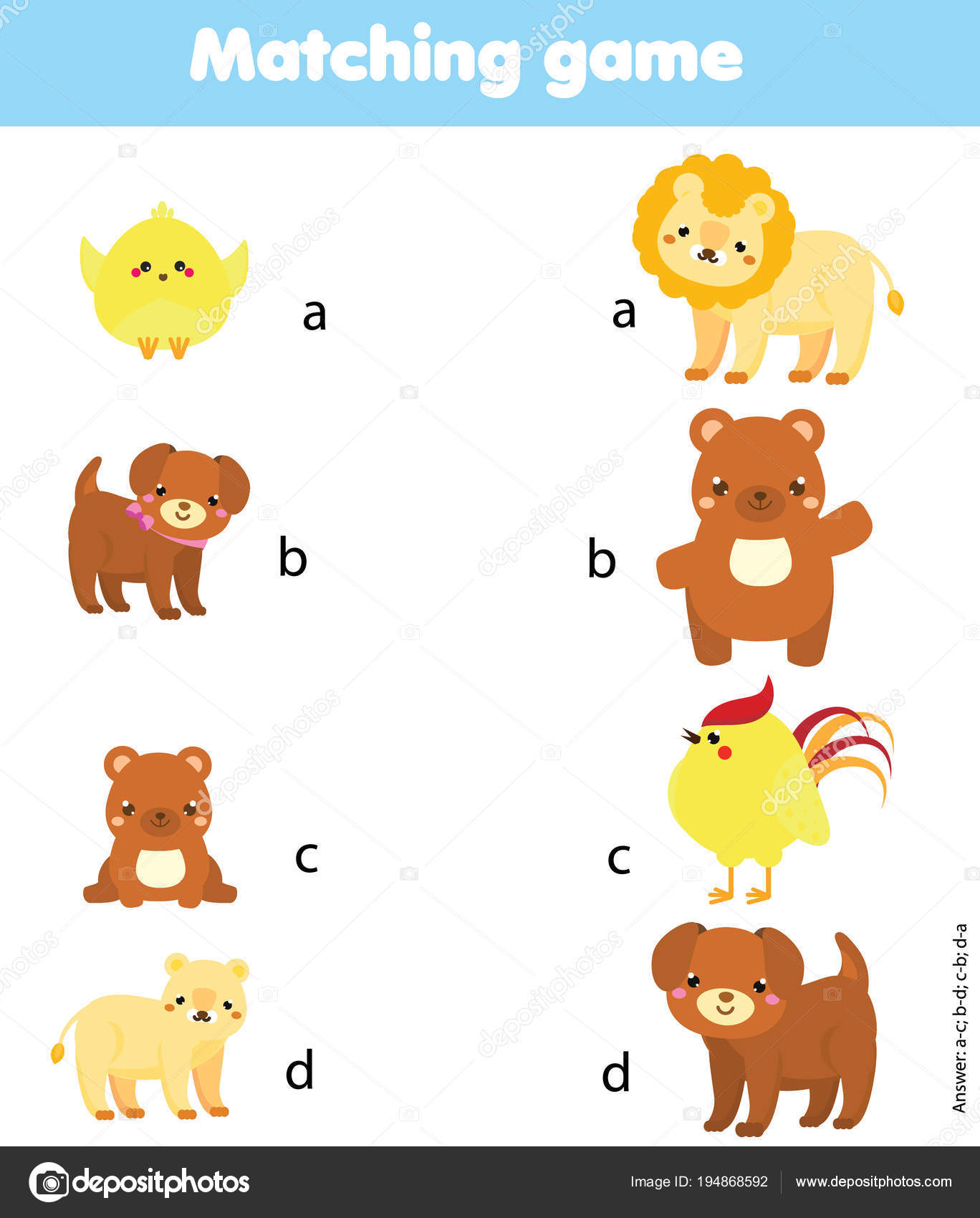 photo about Baby Animal Match Game Printable identify Animal infants matching recreation Matching activity. Game animal